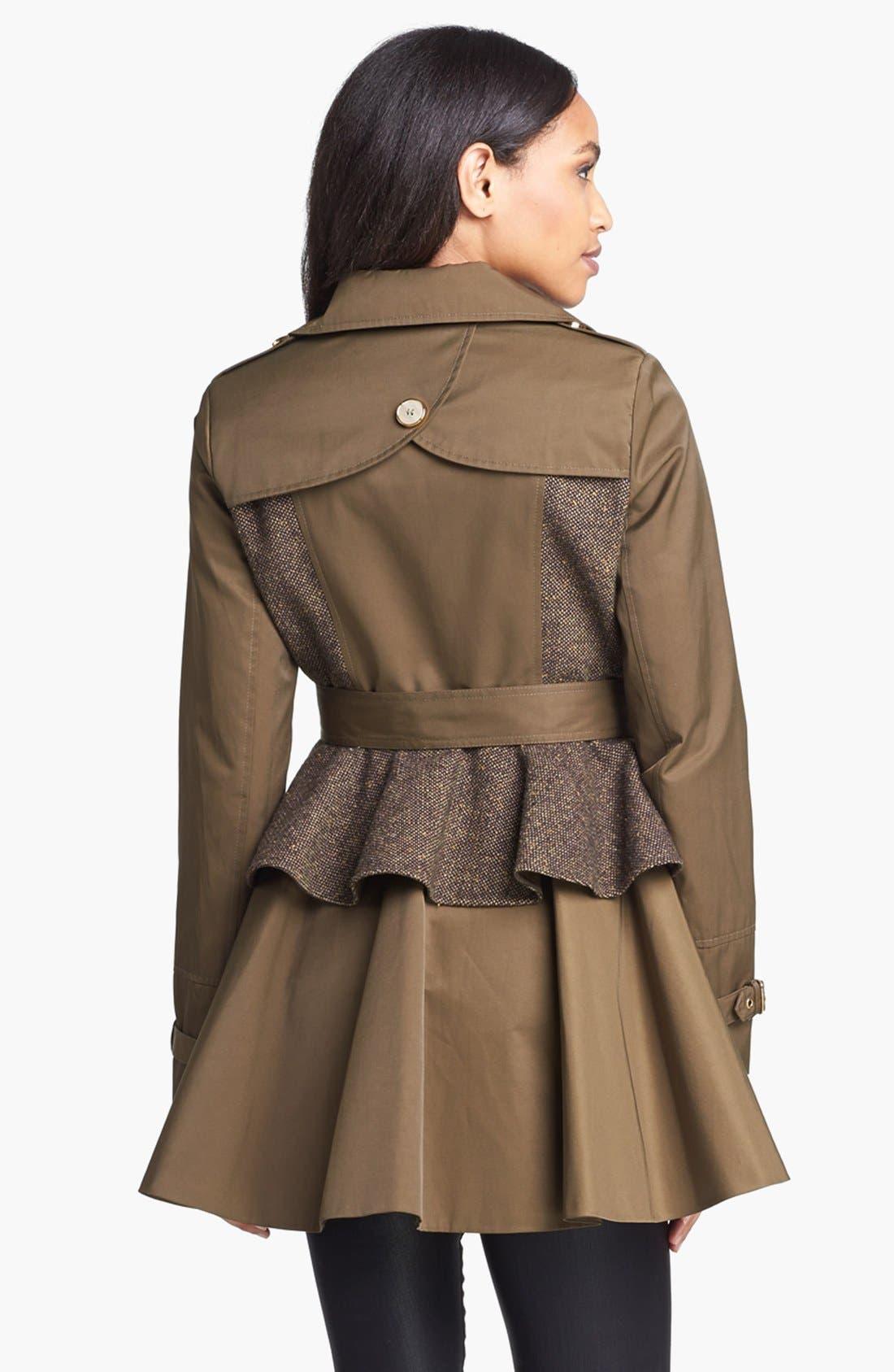 STEVE MADDEN,                             Tweed Panel Peplum Trench Coat,                             Alternate thumbnail 4, color,                             300