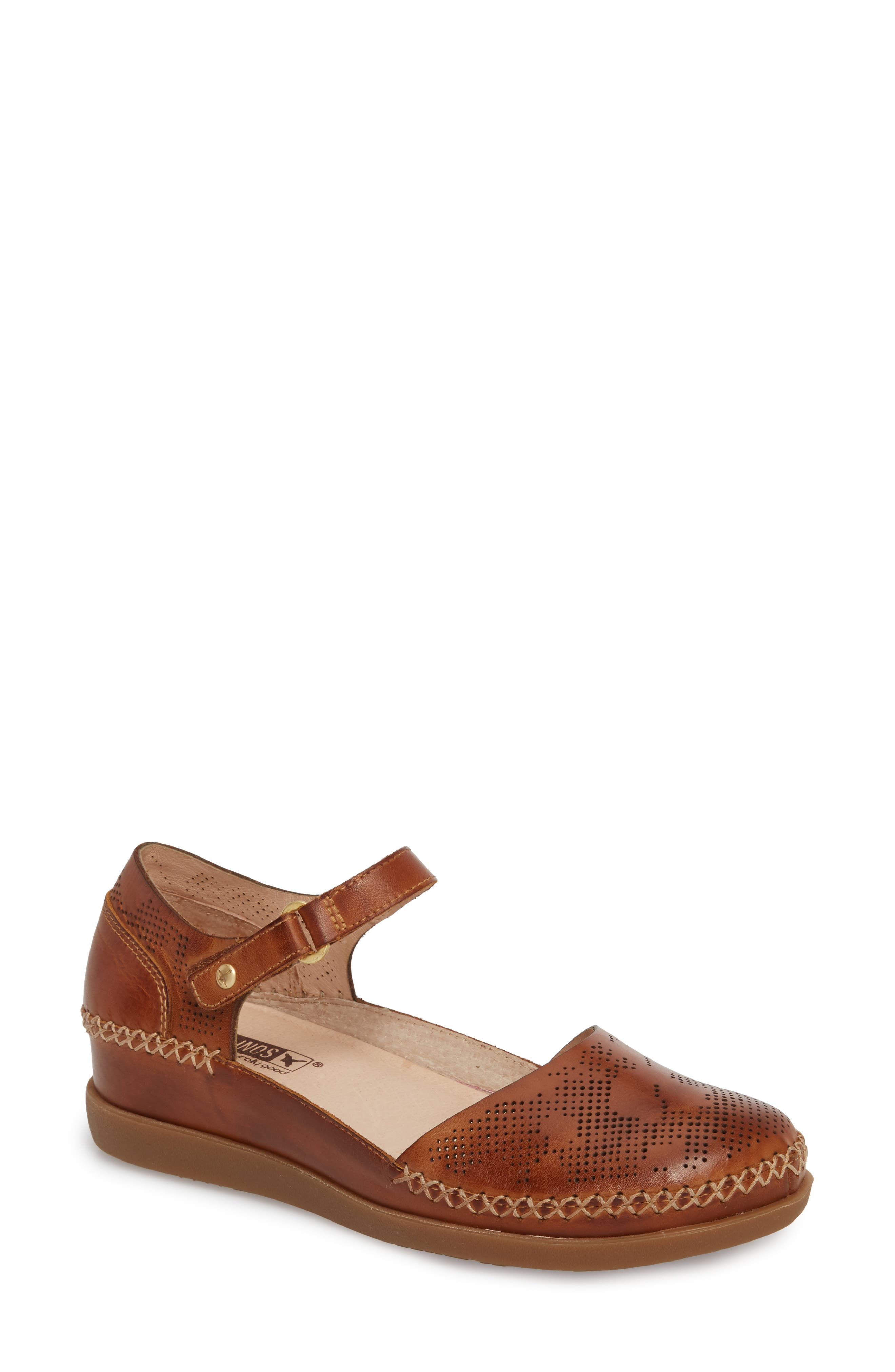 Cadaques Flat,                             Main thumbnail 1, color,                             BRANDY LEATHER