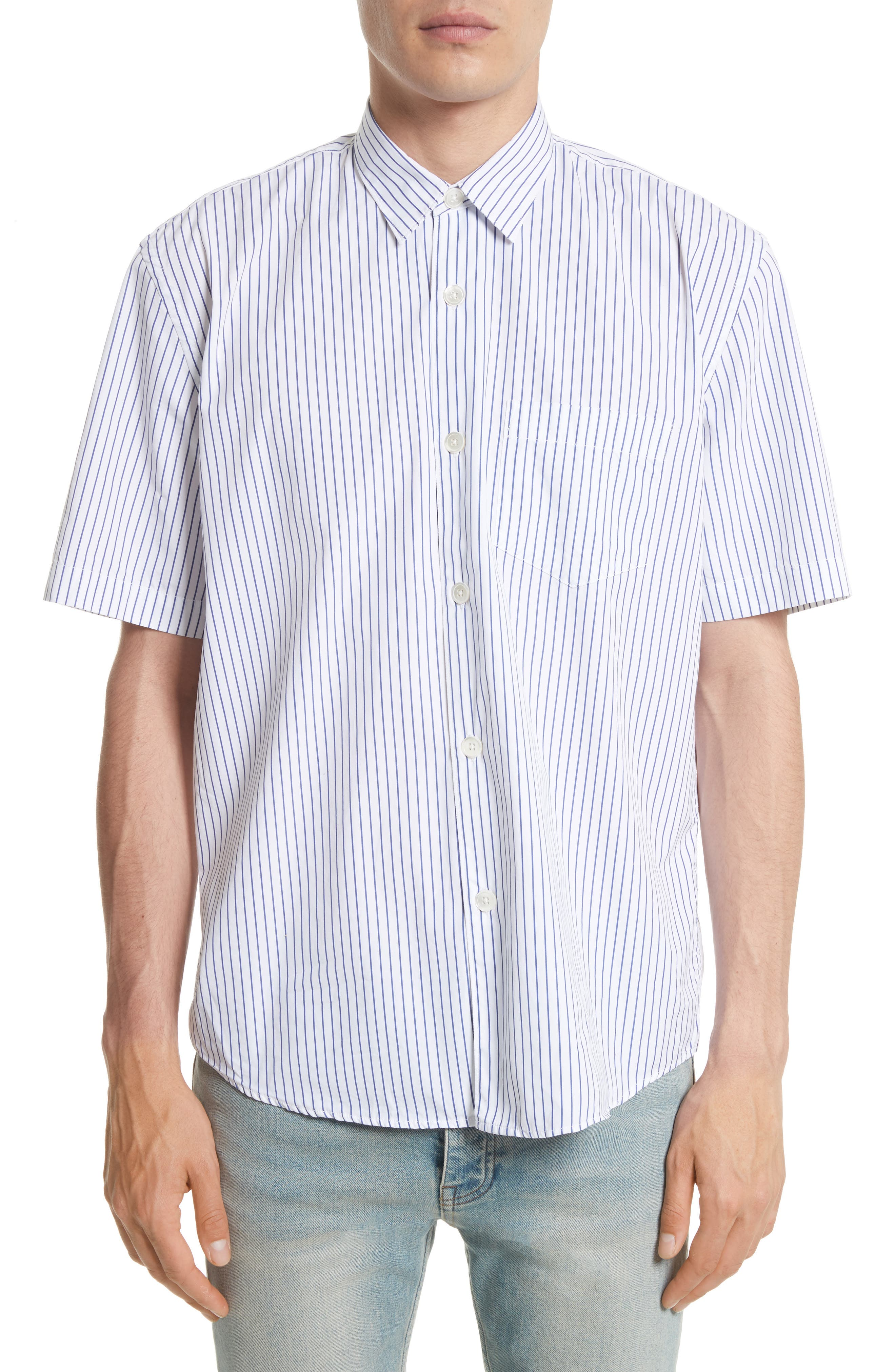 Stripe Short Sleeve Sport Shirt,                         Main,                         color, 400