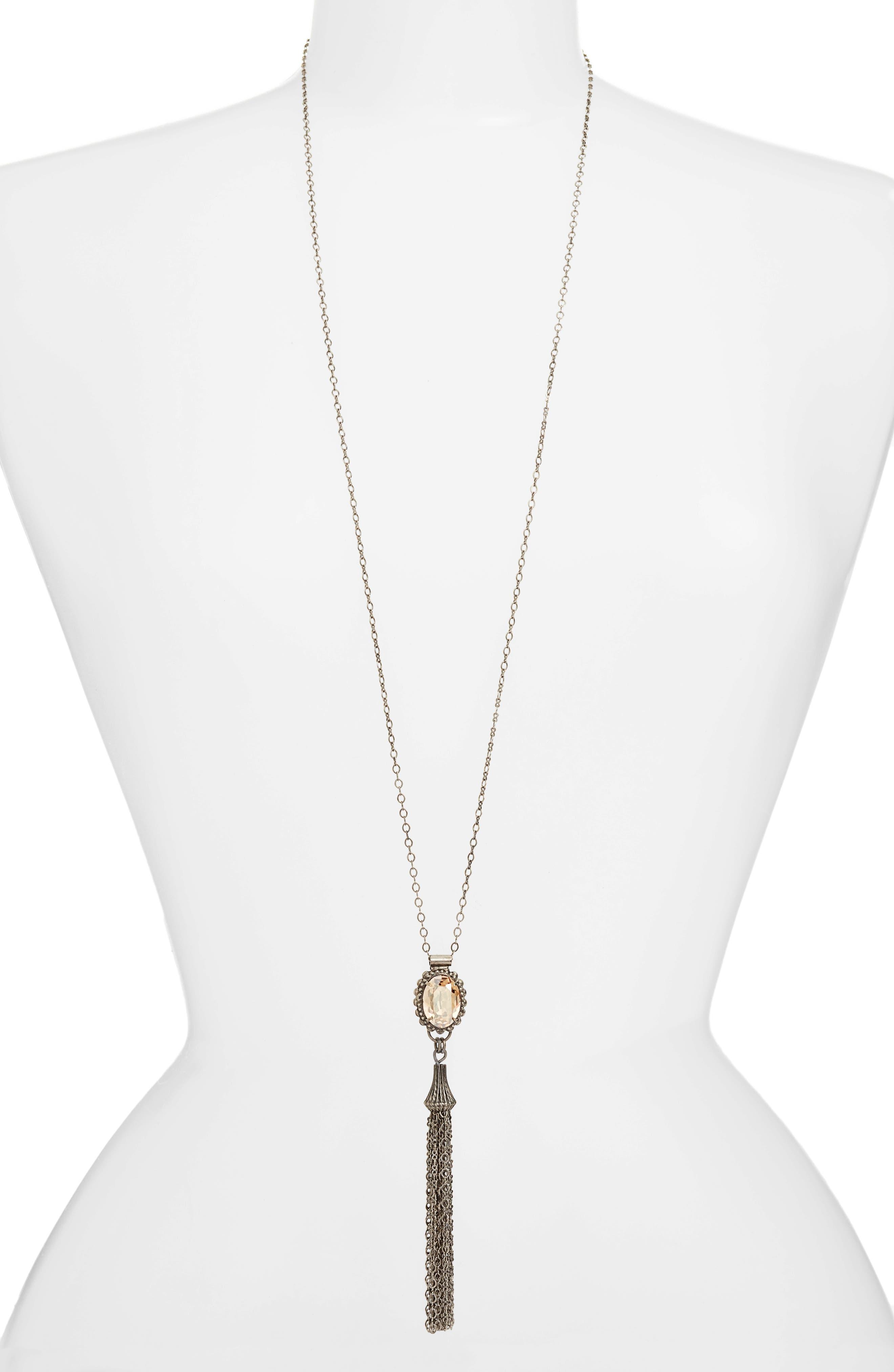 Camellia Tassel Pendant Necklace,                         Main,                         color, 710