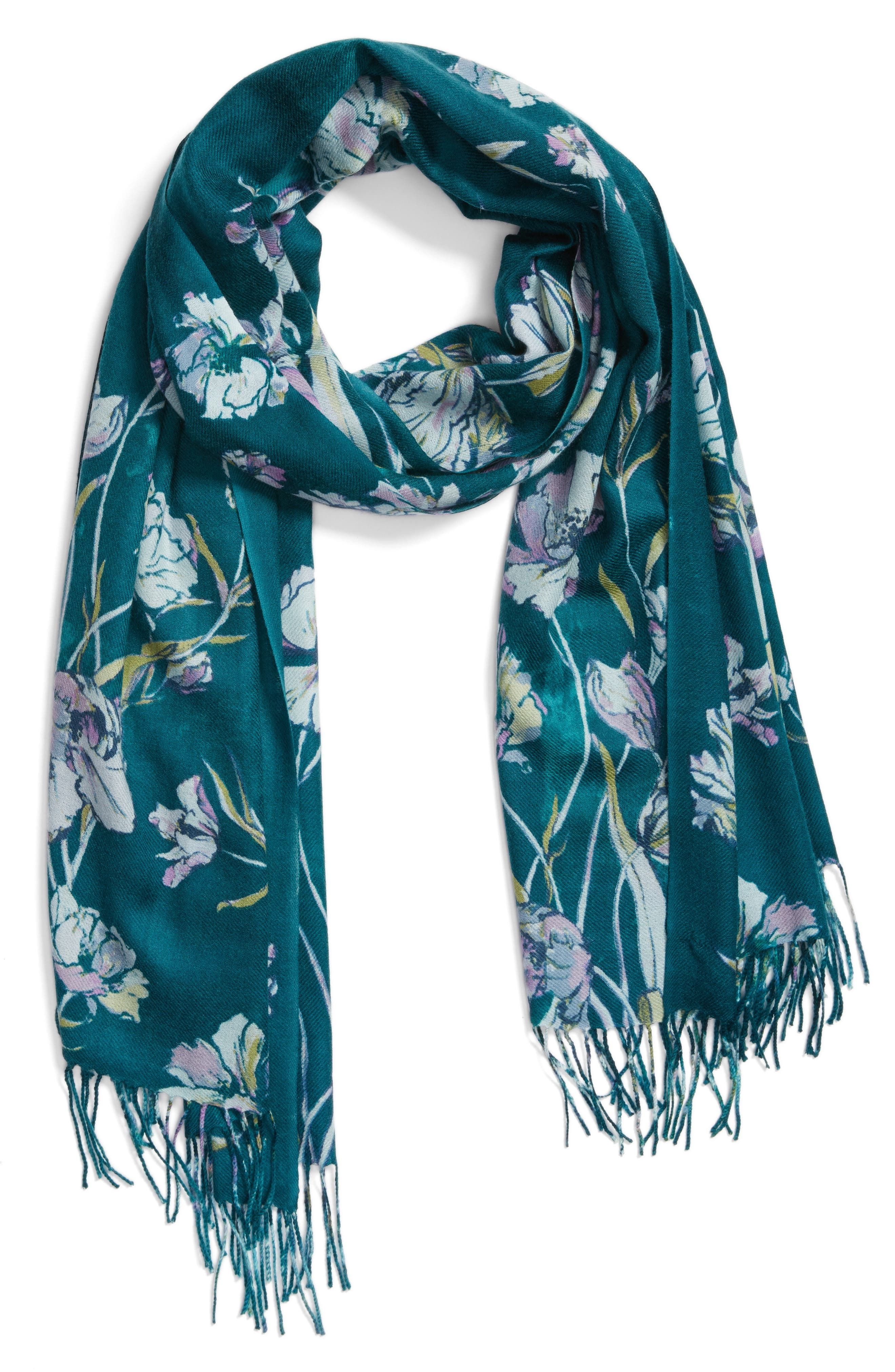 Cambridge Print Wool & Cashmere Scarf,                             Alternate thumbnail 5, color,