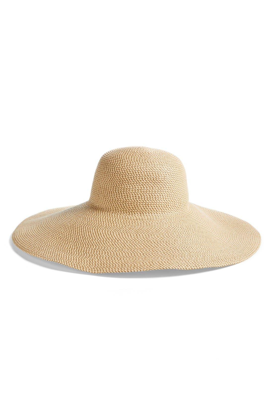 Floppy Straw Hat,                             Main thumbnail 1, color,                             PEANUT