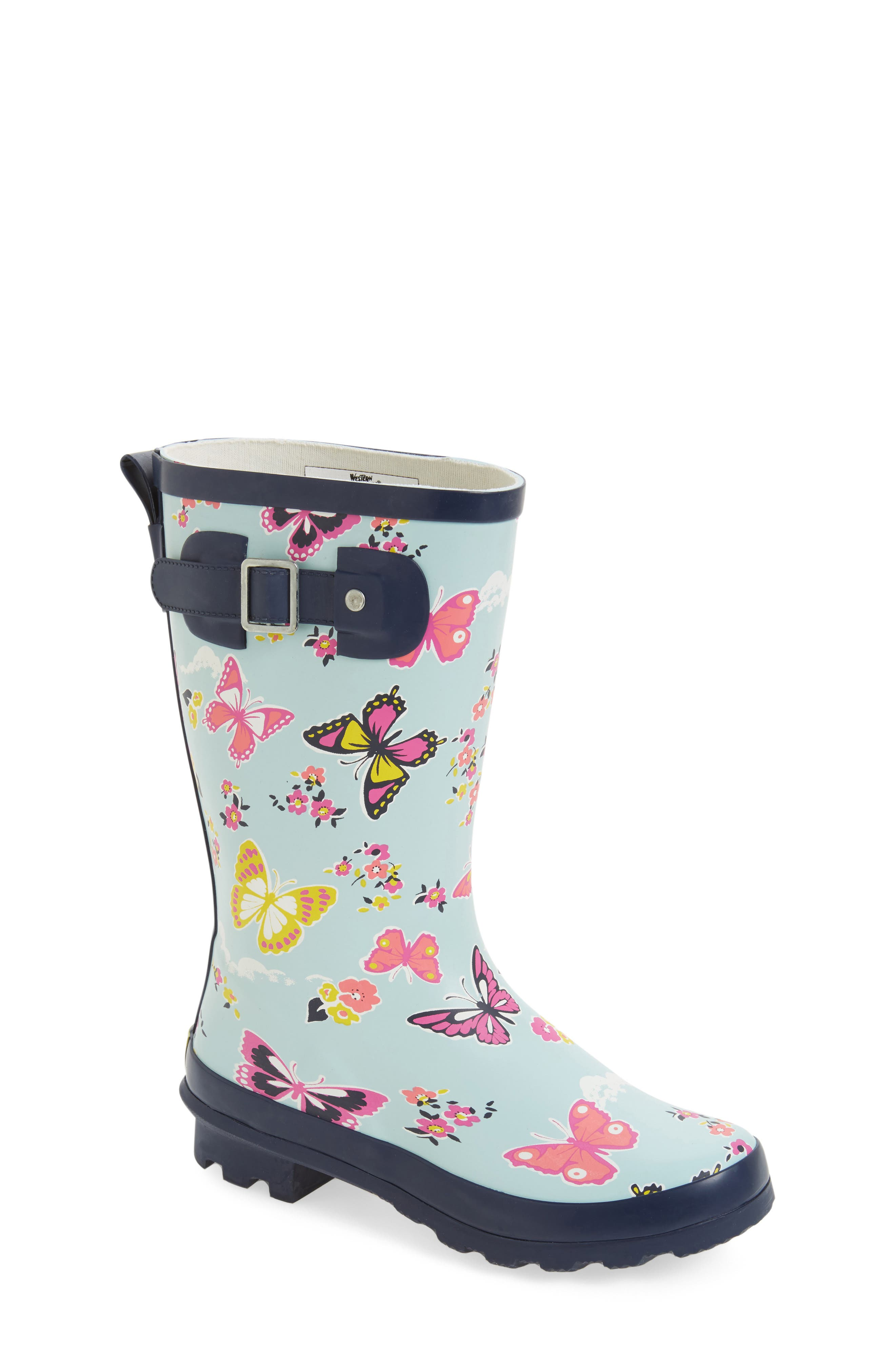Classic Butterfly Floral Rain Boot,                             Main thumbnail 1, color,                             450
