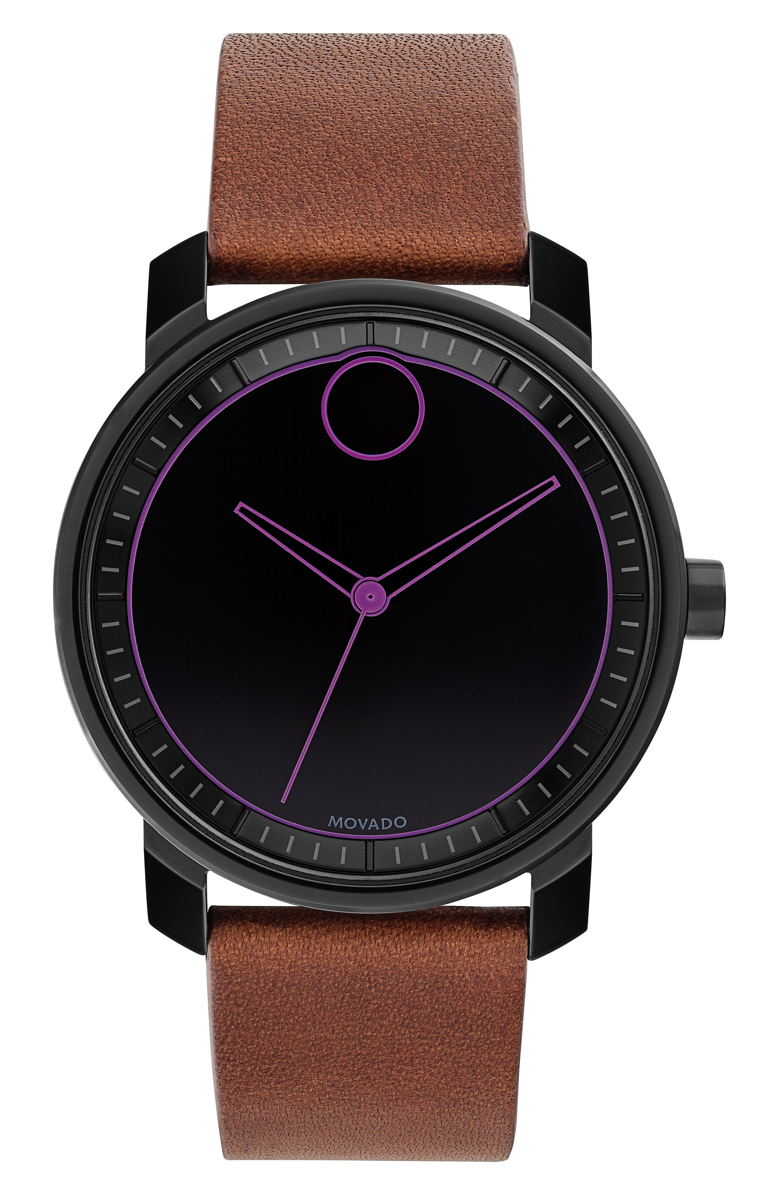 Bold Leather Strap Watch, 41mm,                             Main thumbnail 4, color,