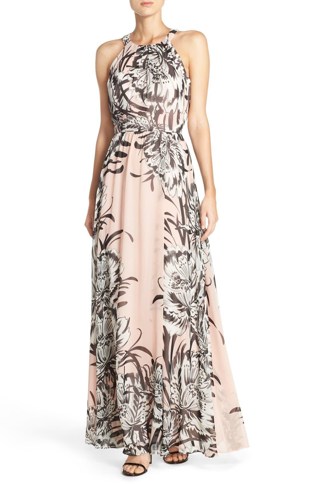 Chiffon Maxi Dress,                             Main thumbnail 1, color,                             BLUSH