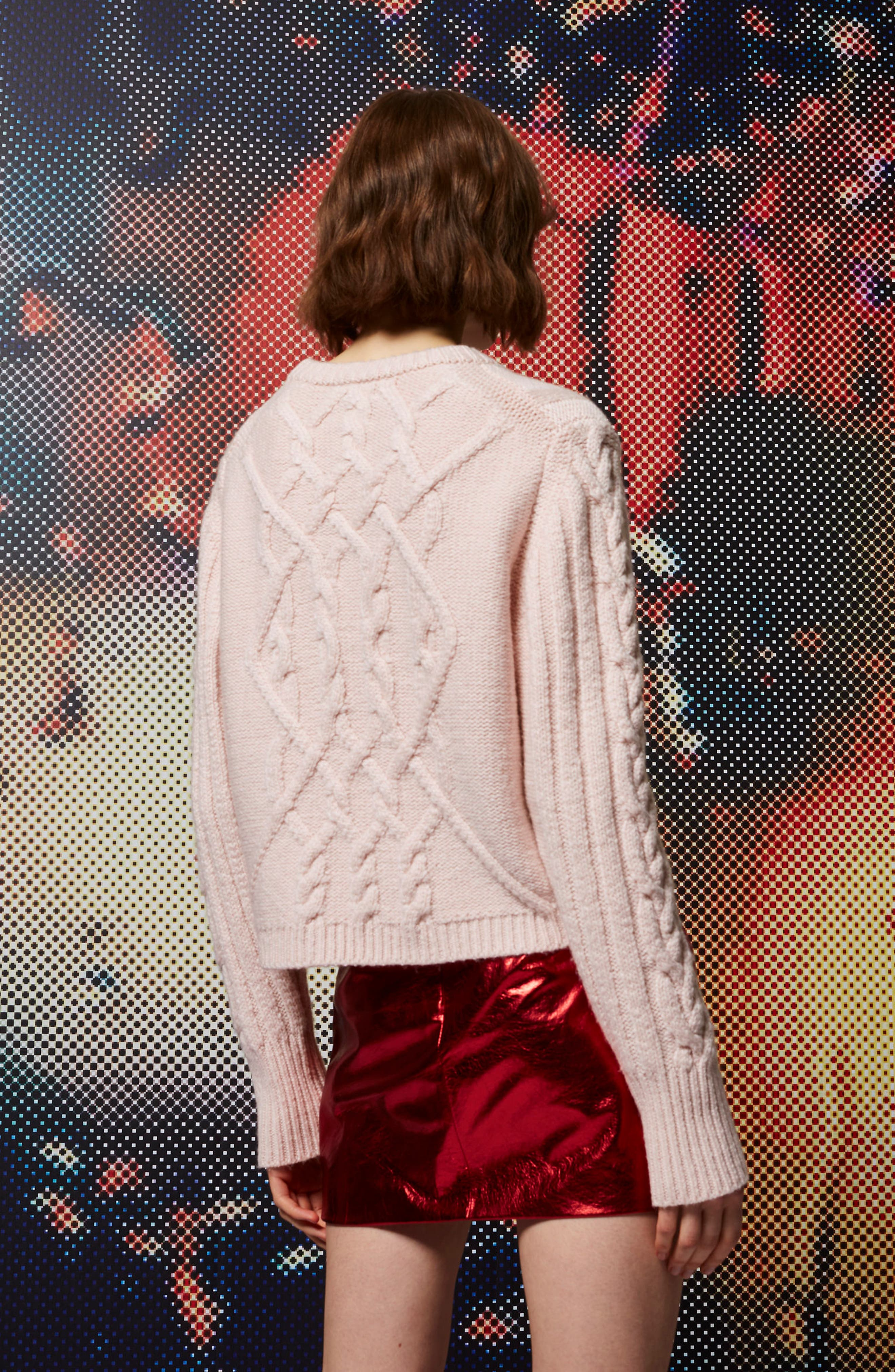 Cable Knit Sweater,                             Alternate thumbnail 3, color,                             650