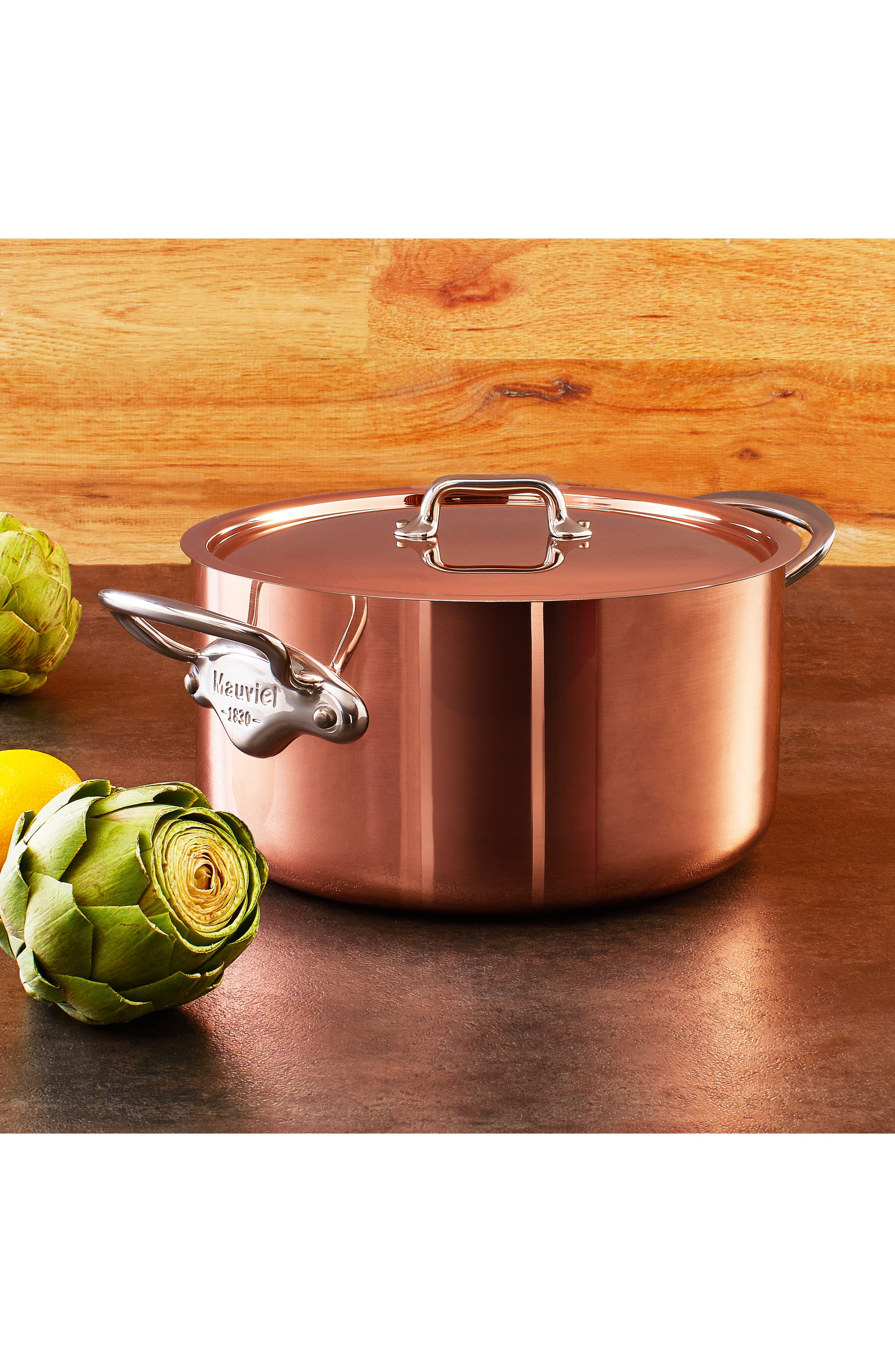 M'héritage - M'150s Copper & Stainless Steel Stew Pot with Lid,                             Alternate thumbnail 3, color,                             METALLIC RUST/COPPER