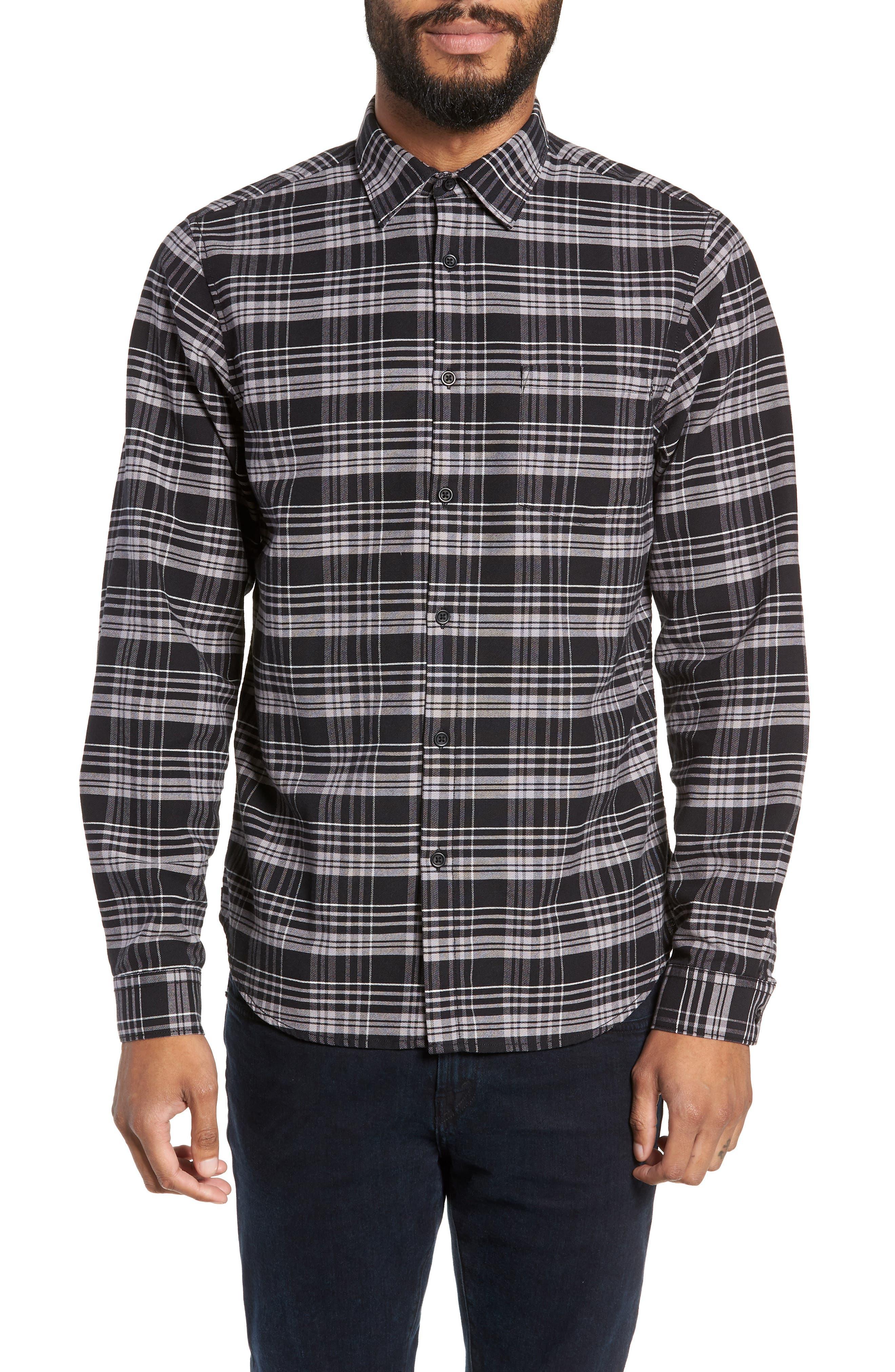 Roy Plaid Sport Shirt,                             Main thumbnail 1, color,                             BLACK CHECK