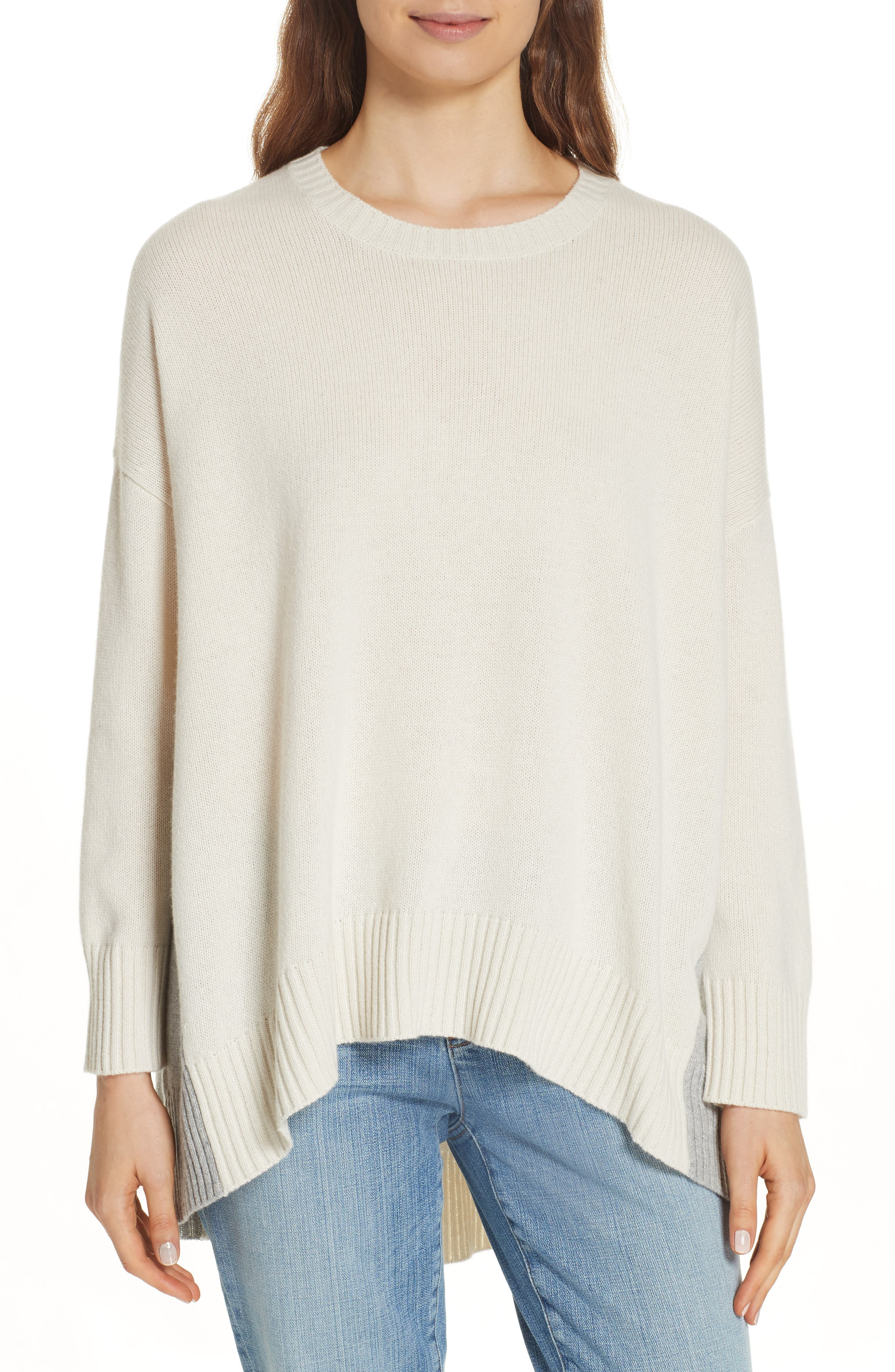 Oversize Cashmere & Wool Sweater,                             Main thumbnail 1, color,                             SOFT WHITE/ DARK PEARL