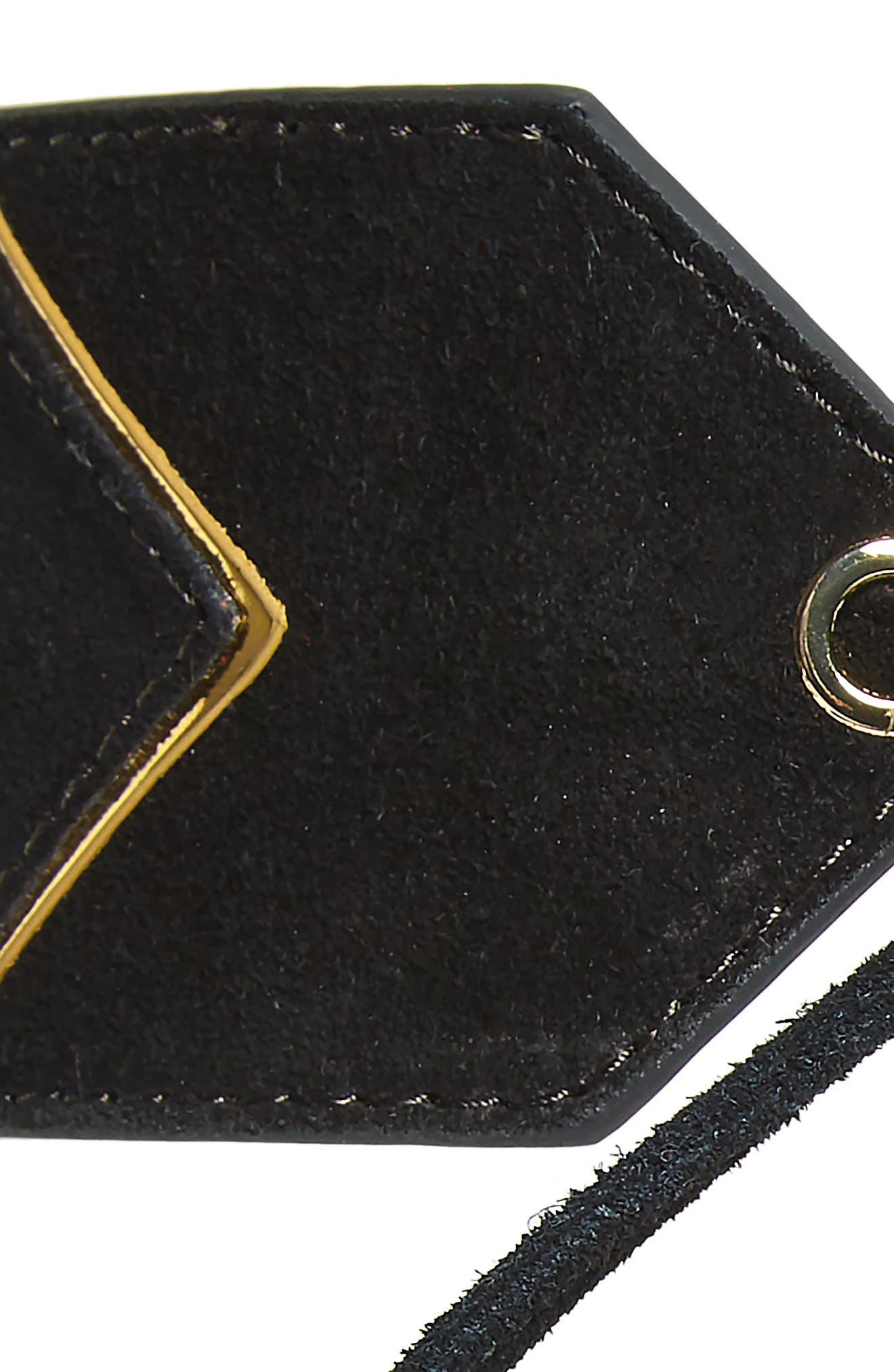 Suede Tassel Tie Belt,                             Alternate thumbnail 3, color,                             BLACK/ GOLD