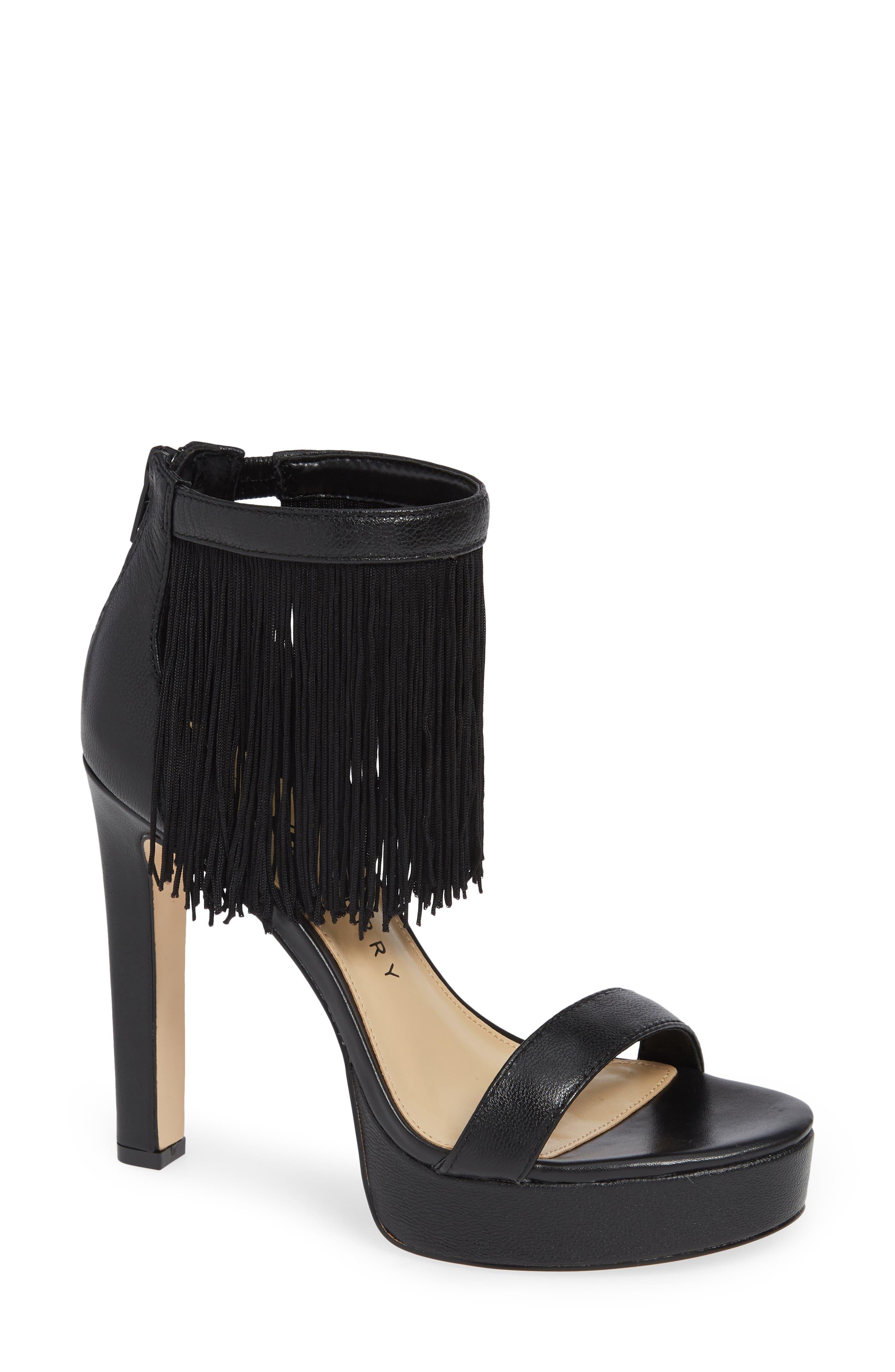Fringed Platform Sandal in Black