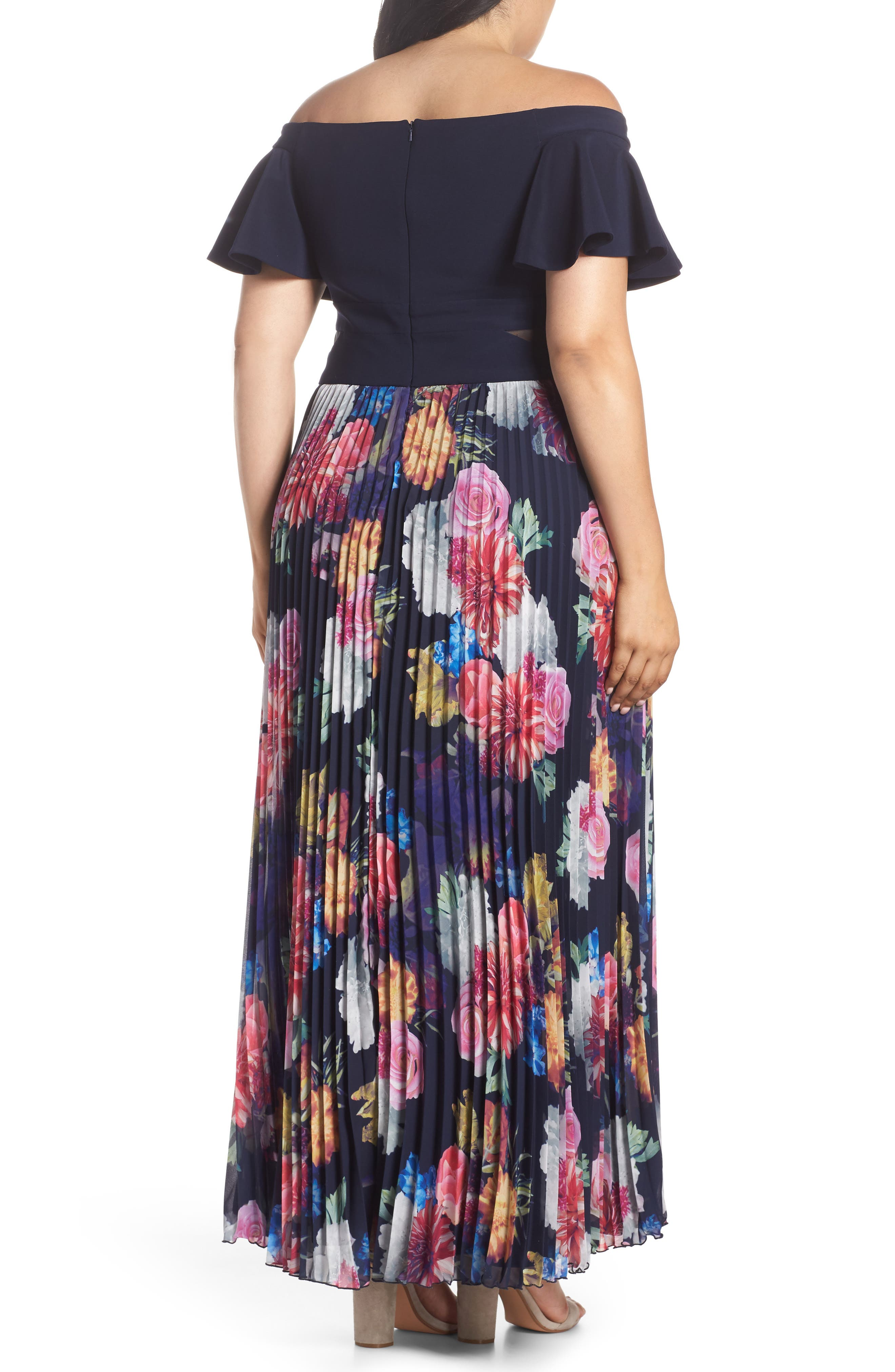 Ruffle Sleeve Off The Shoulder Pleated Maxi Dress,                             Alternate thumbnail 2, color,                             NAVY/ PINK