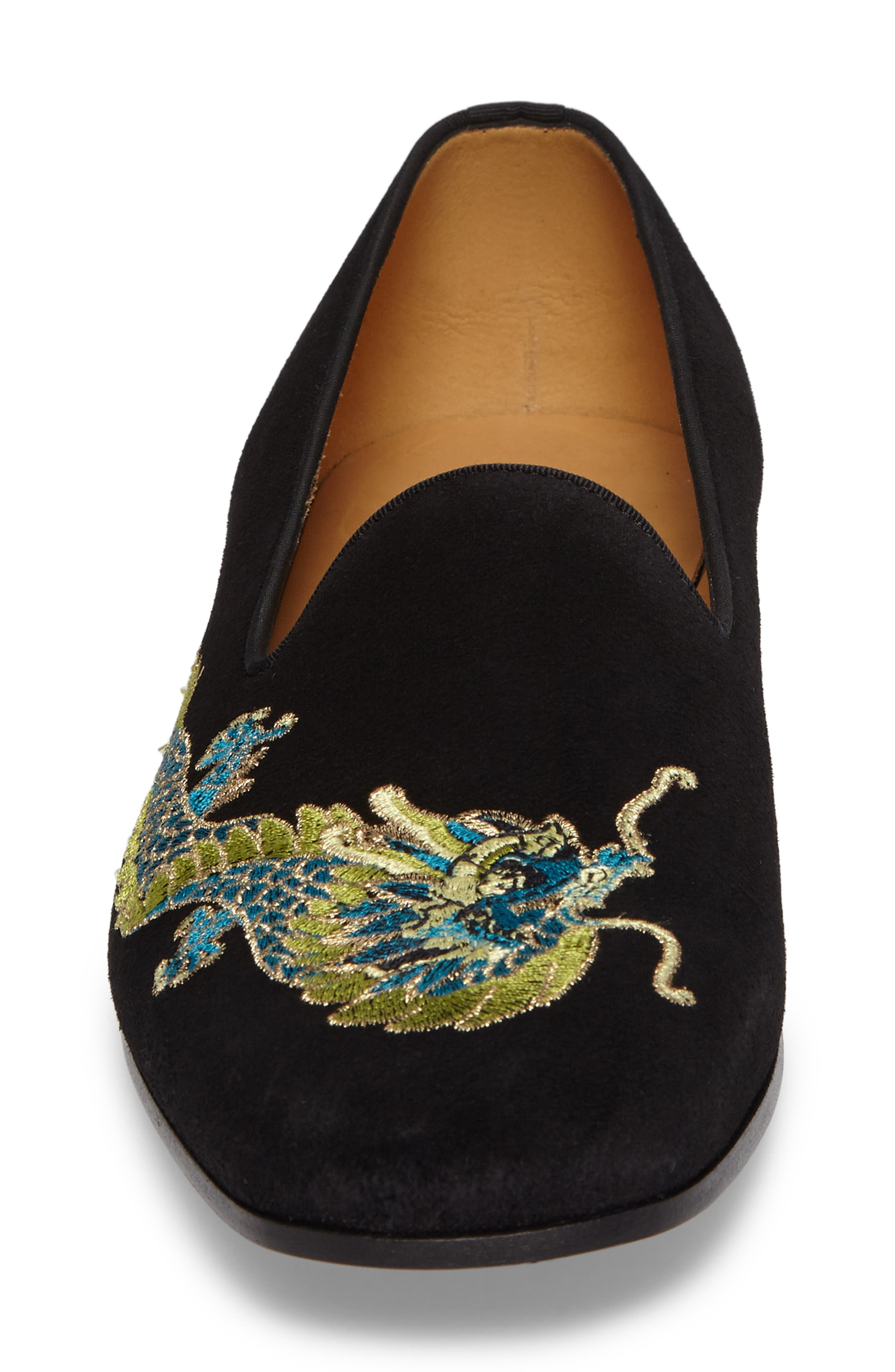 Dragon Embroidered Suede Loafer,                             Alternate thumbnail 4, color,                             BLACK SUEDE