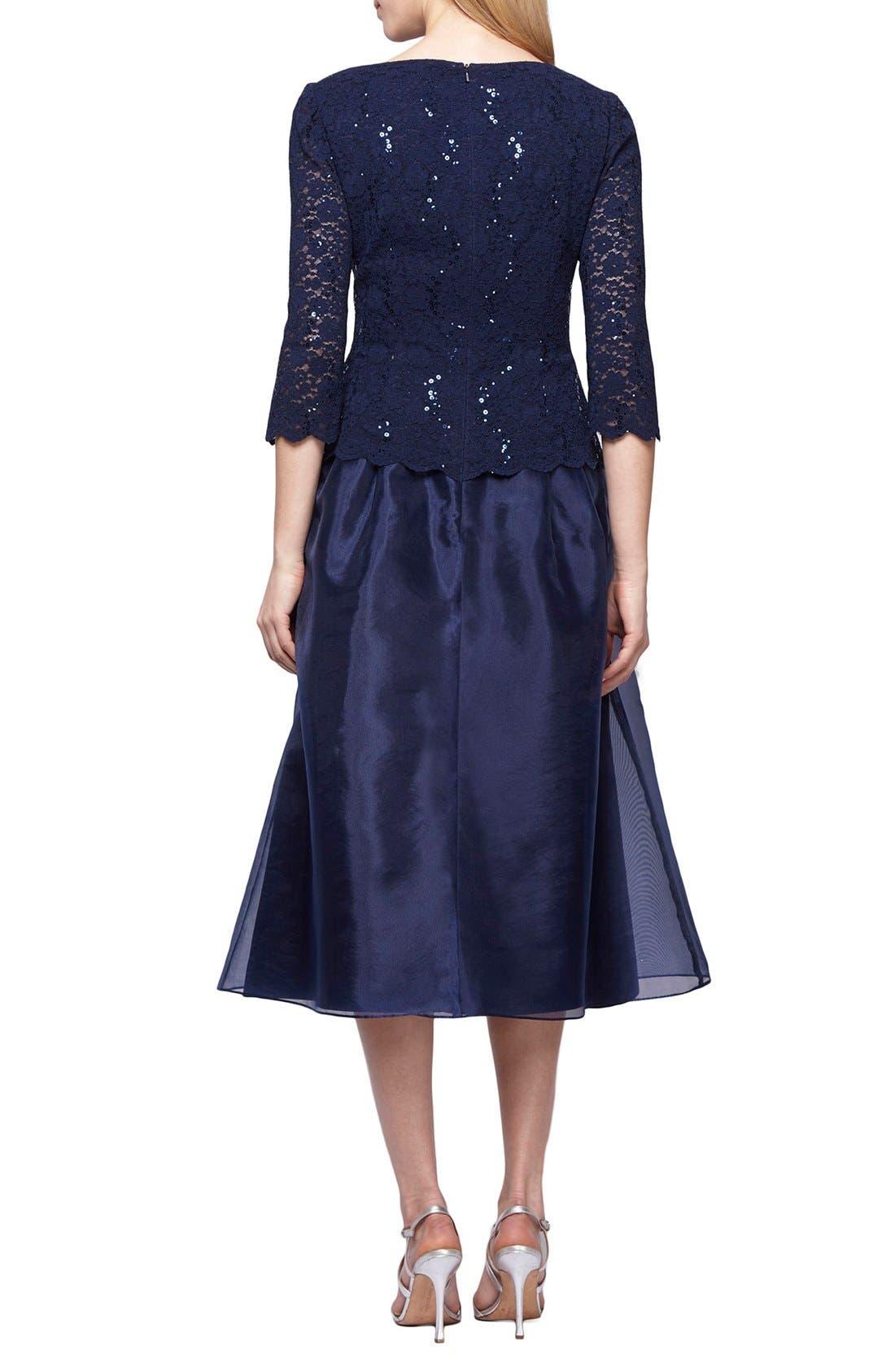 Mixed Media Fit & Flare Dress,                             Alternate thumbnail 2, color,                             410