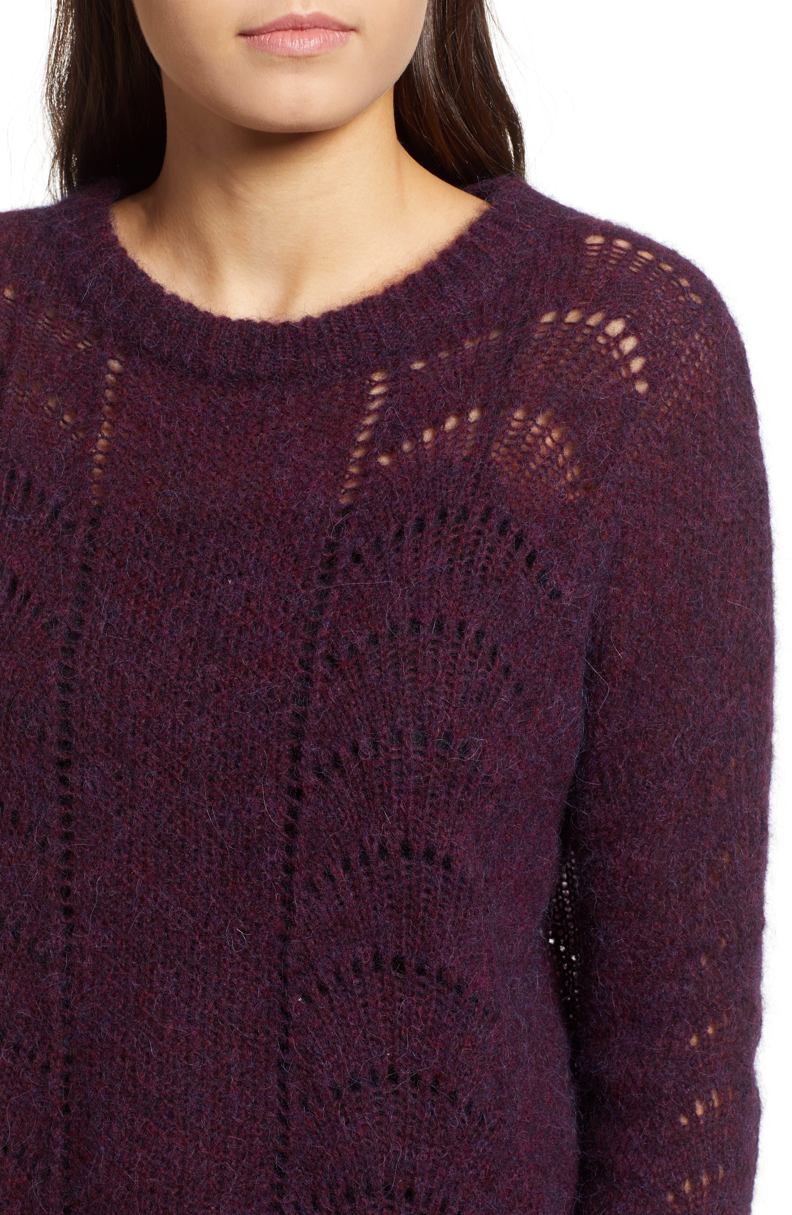 Mara Sweater,                             Alternate thumbnail 4, color,                             BLACKBERRY