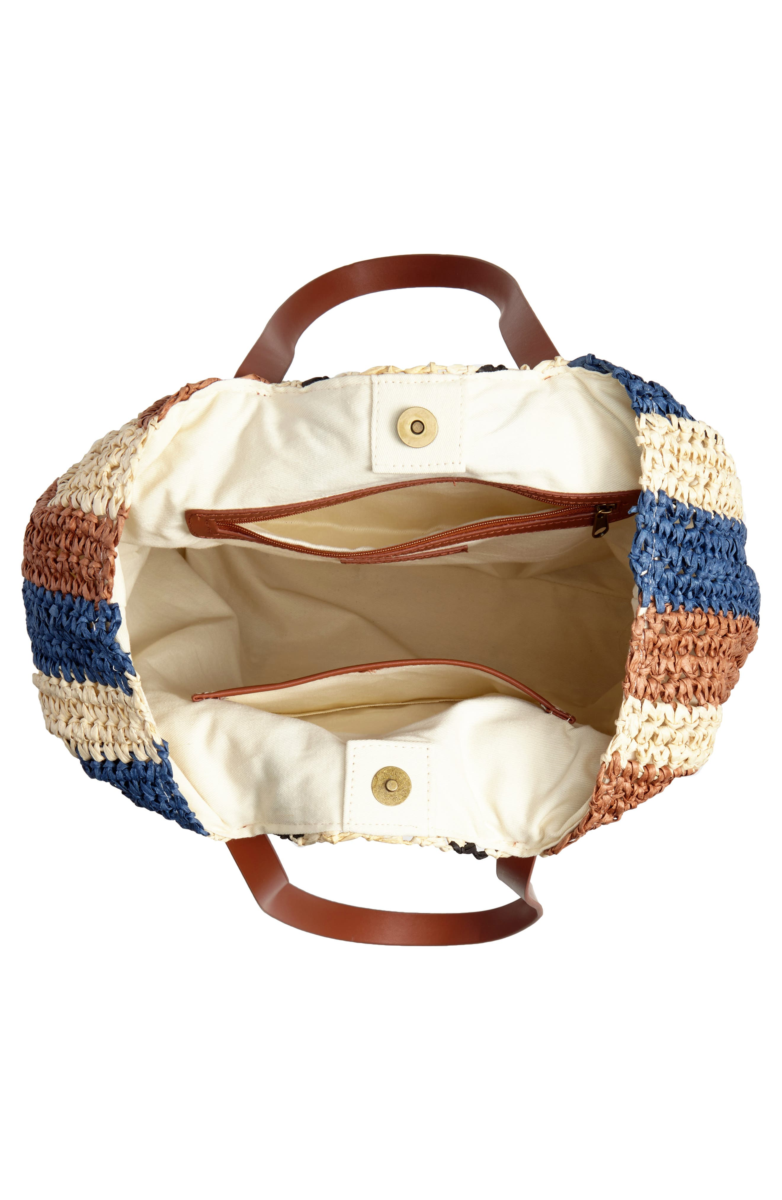 Stripe North/South Raffia Tote,                             Alternate thumbnail 4, color,                             MULTI