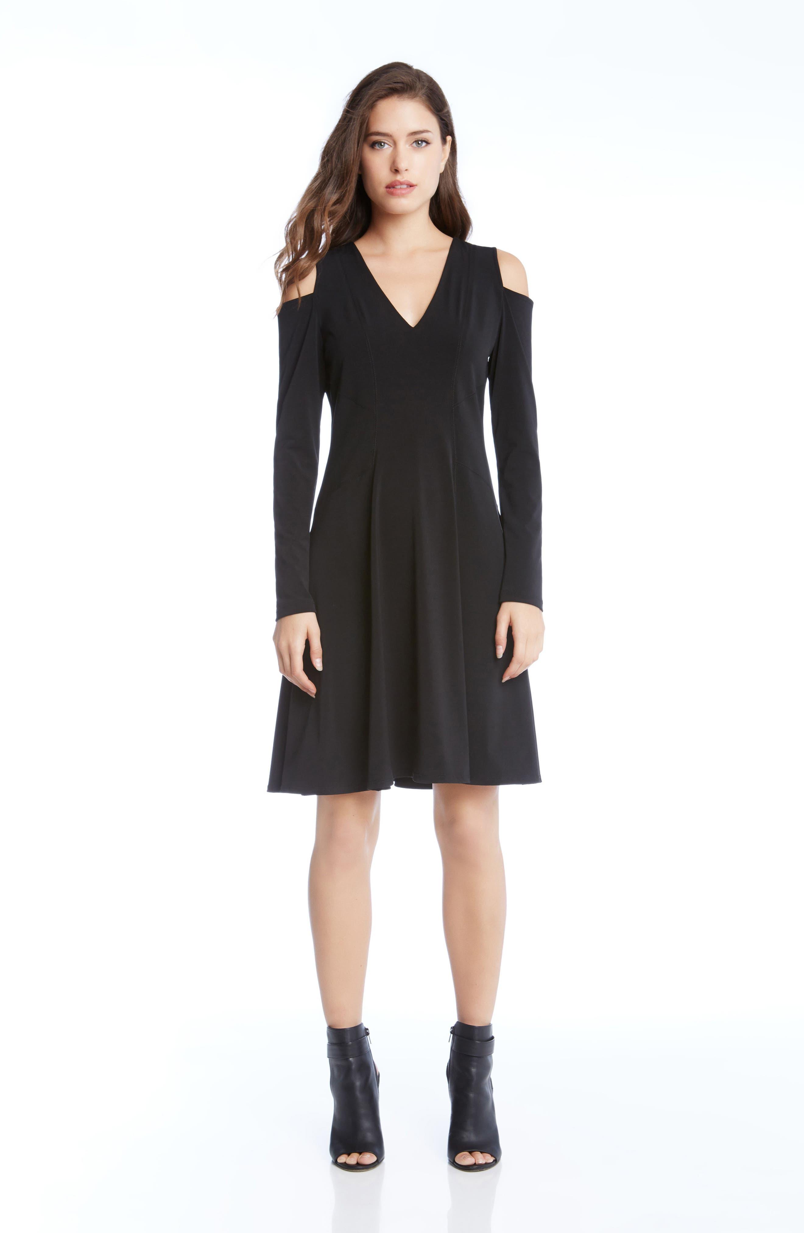 Cold Shoulder Dress,                             Alternate thumbnail 3, color,                             001