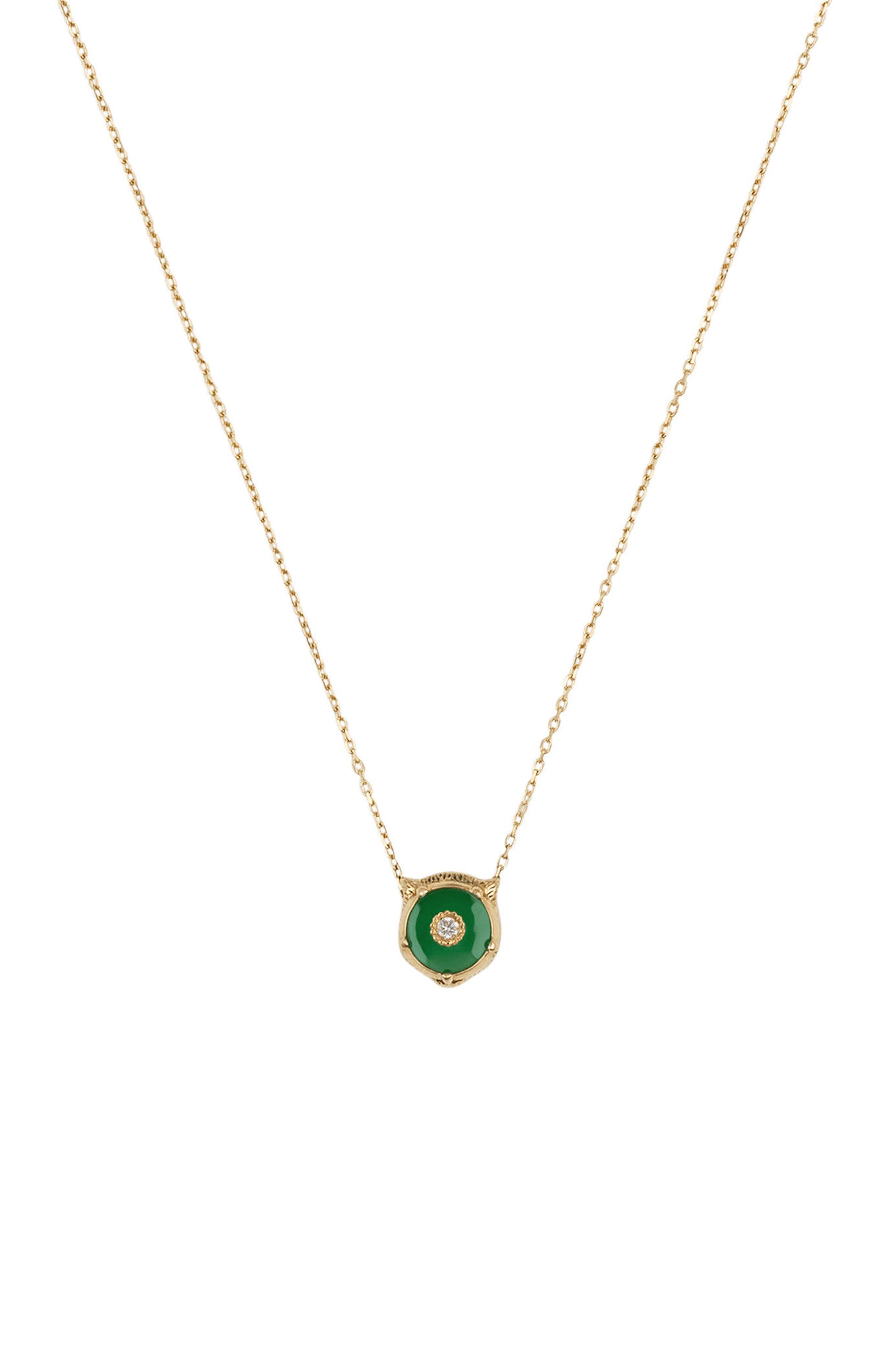 GUCCI,                             Feline Head Pendant Necklace,                             Main thumbnail 1, color,                             YELLOW GOLD/ GREEN JADE