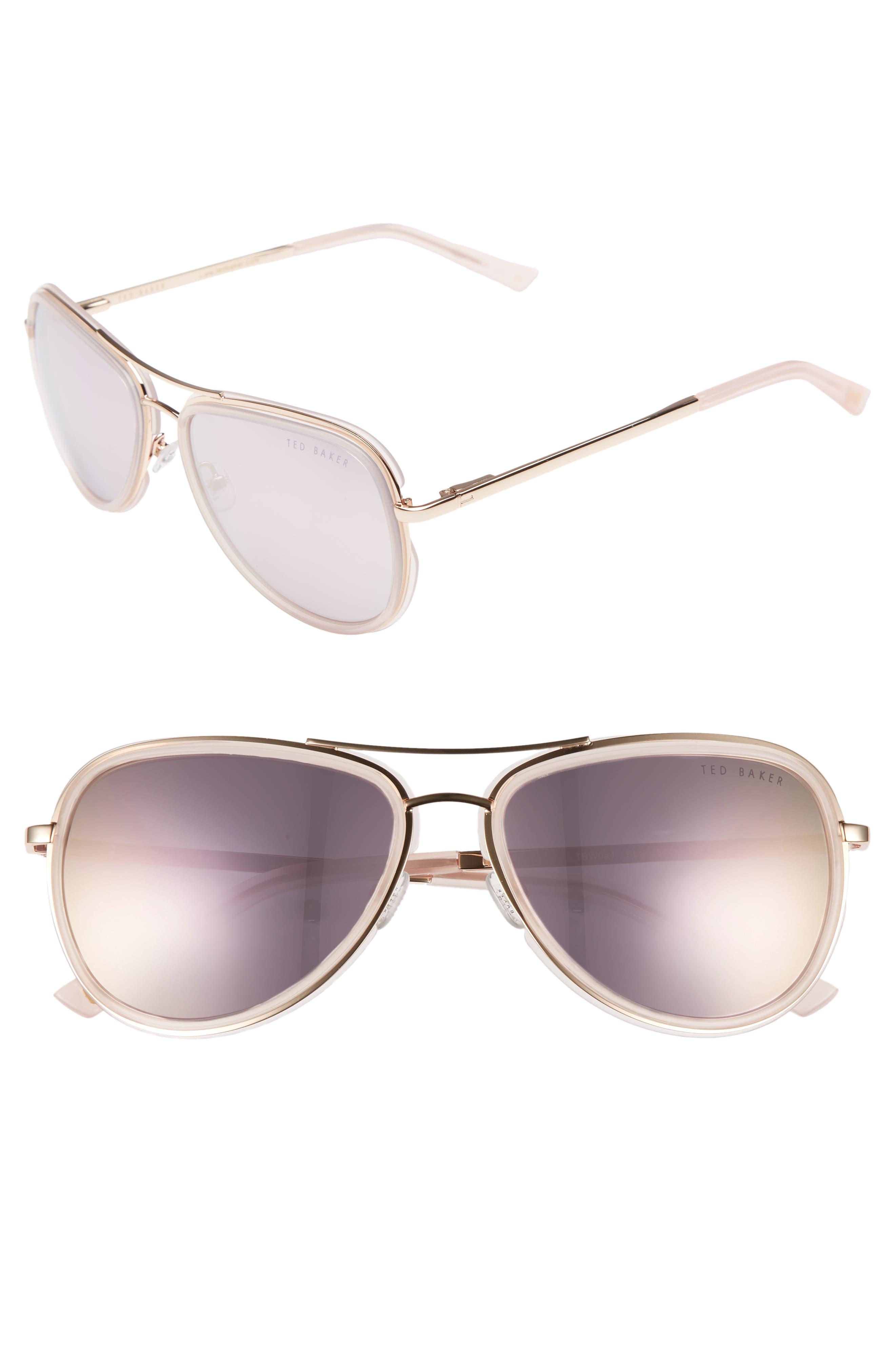 Combination 57mm Aviator Sunglasses,                             Main thumbnail 2, color,