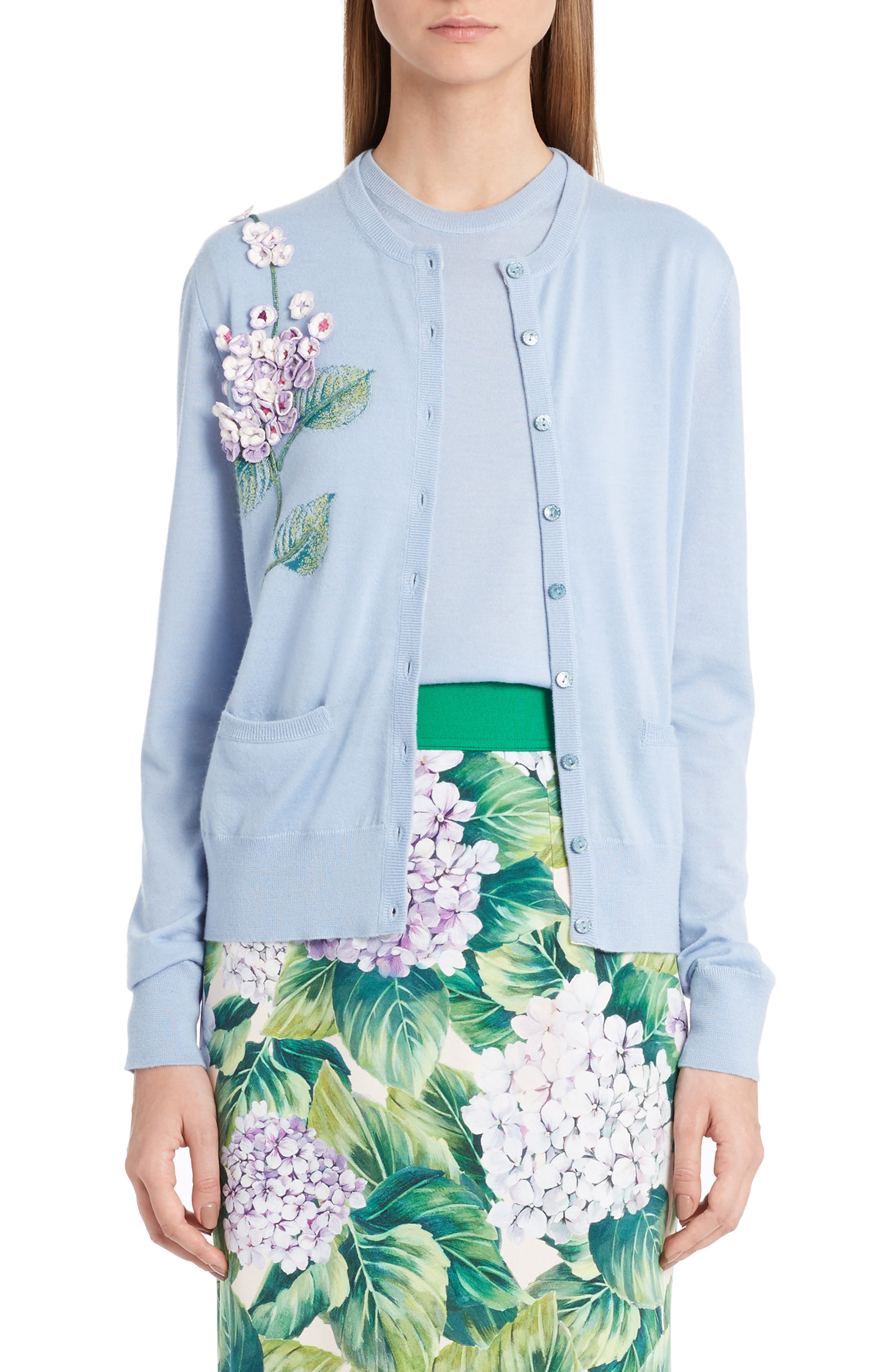 Embellished Cashmere & Silk Button Cardigan,                             Main thumbnail 1, color,                             450