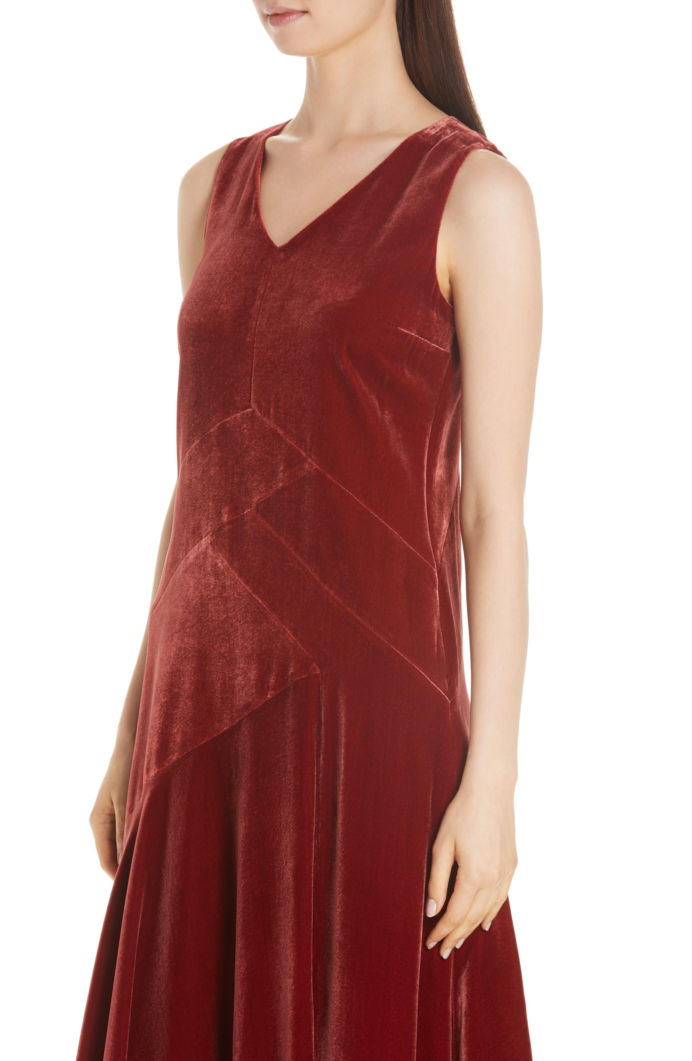 Ashlena Asymmetrical Velvet Dress,                             Alternate thumbnail 4, color,                             SAFFRON