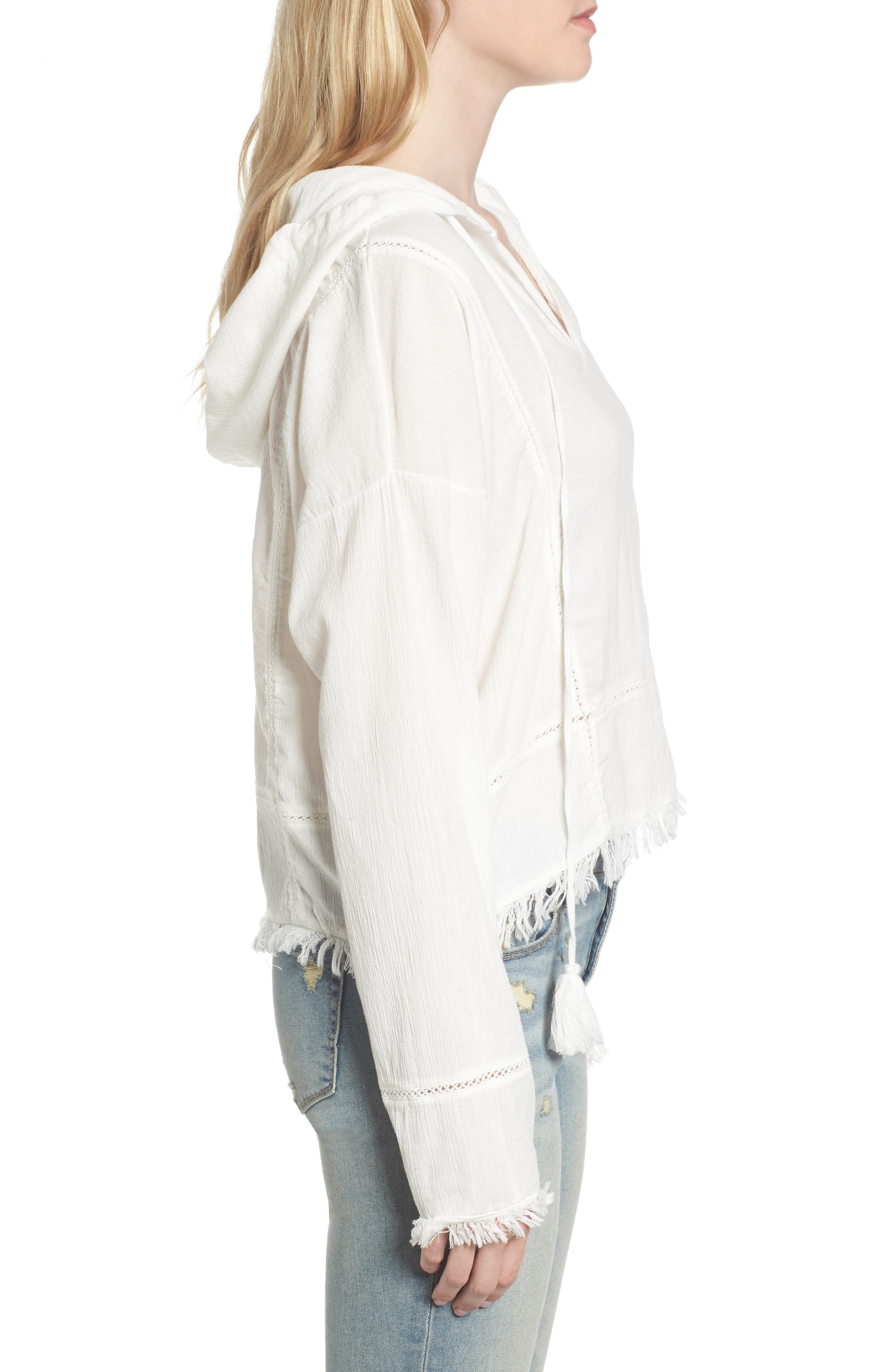 Frayed Hooded Top,                             Alternate thumbnail 3, color,                             100