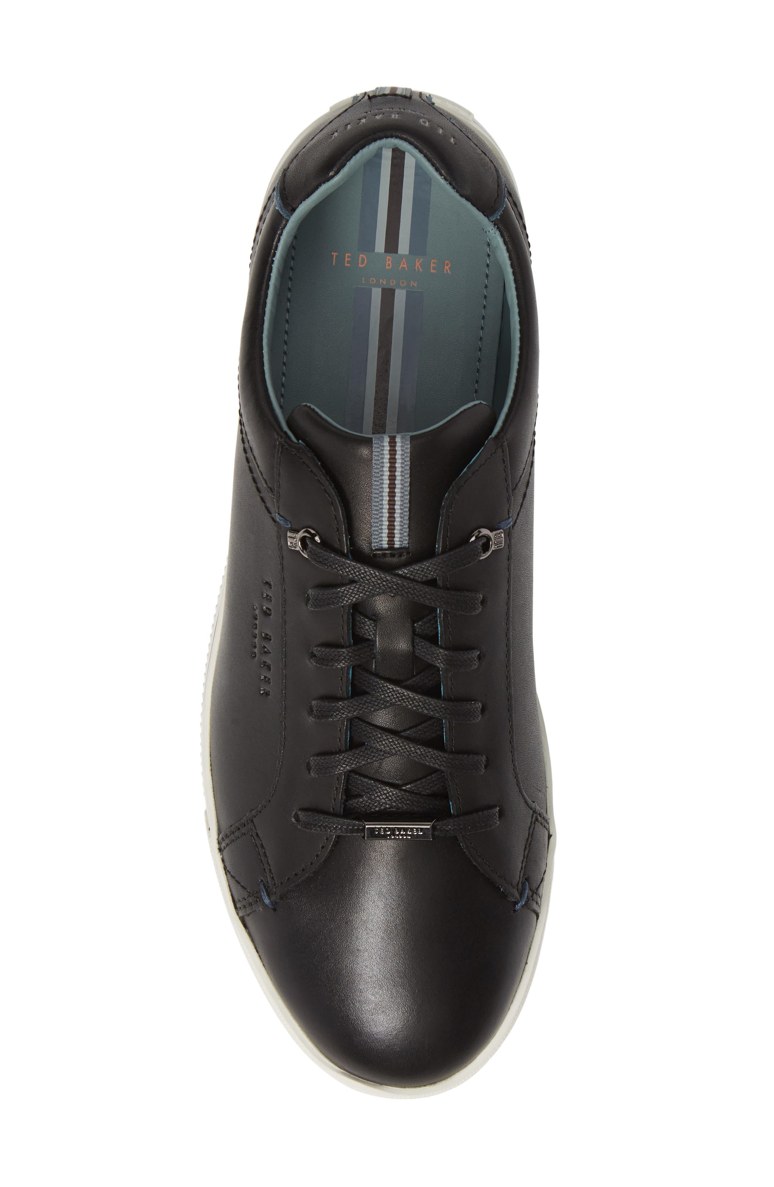 TED BAKER LONDON,                             Thawne Sneaker,                             Alternate thumbnail 5, color,                             BLACK LEATHER