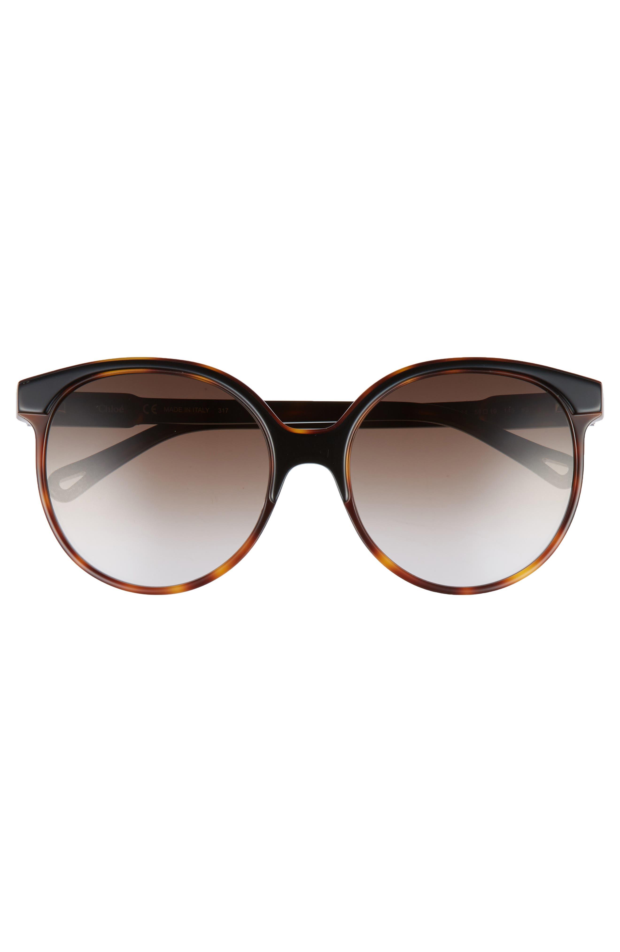 59mm Round Sunglasses,                             Alternate thumbnail 3, color,                             004