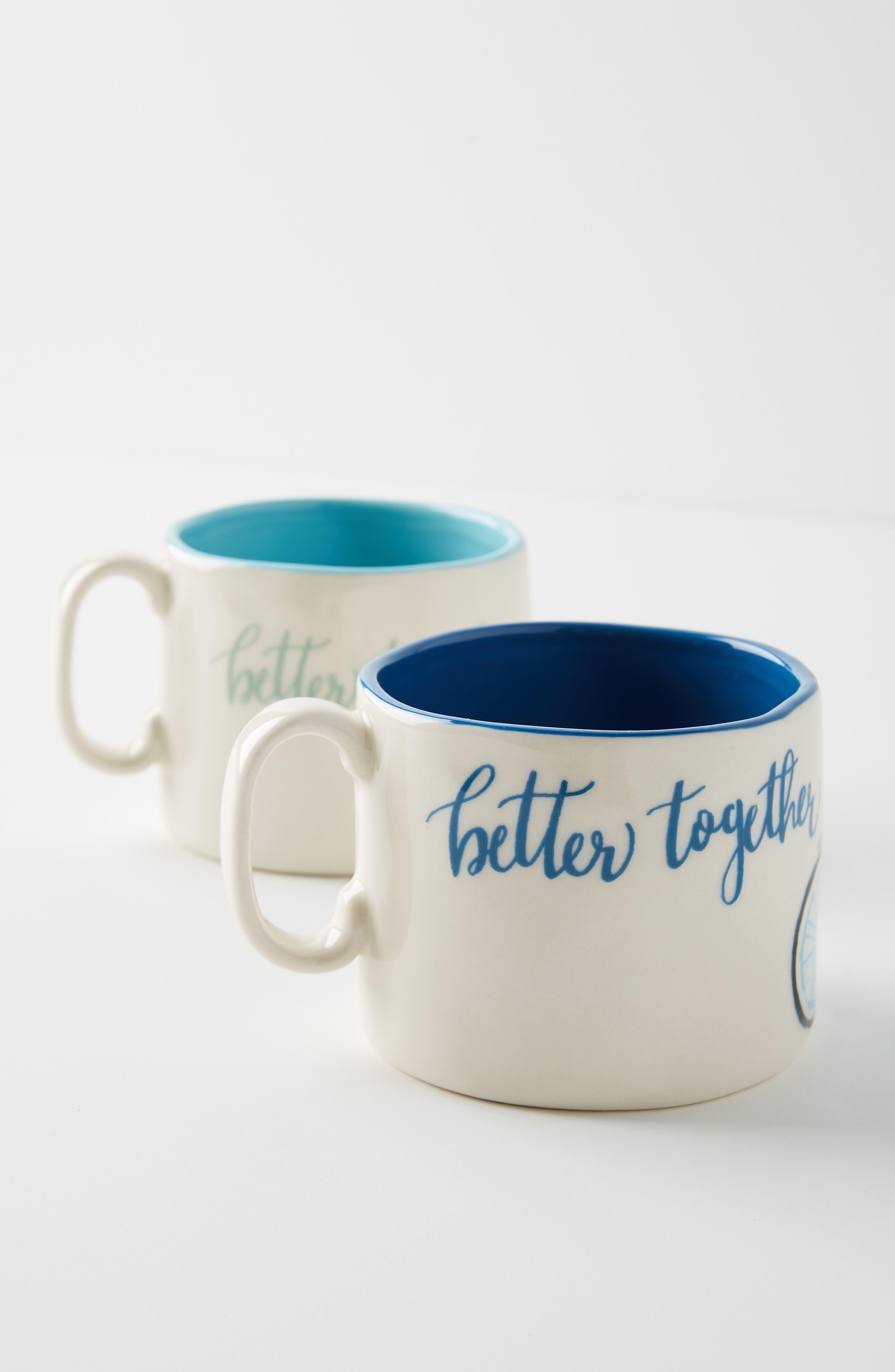 ANTHROPOLOGIE,                             Tandem Mug Set of 2 Mugs,                             Alternate thumbnail 5, color,                             BETTER TOGETHER