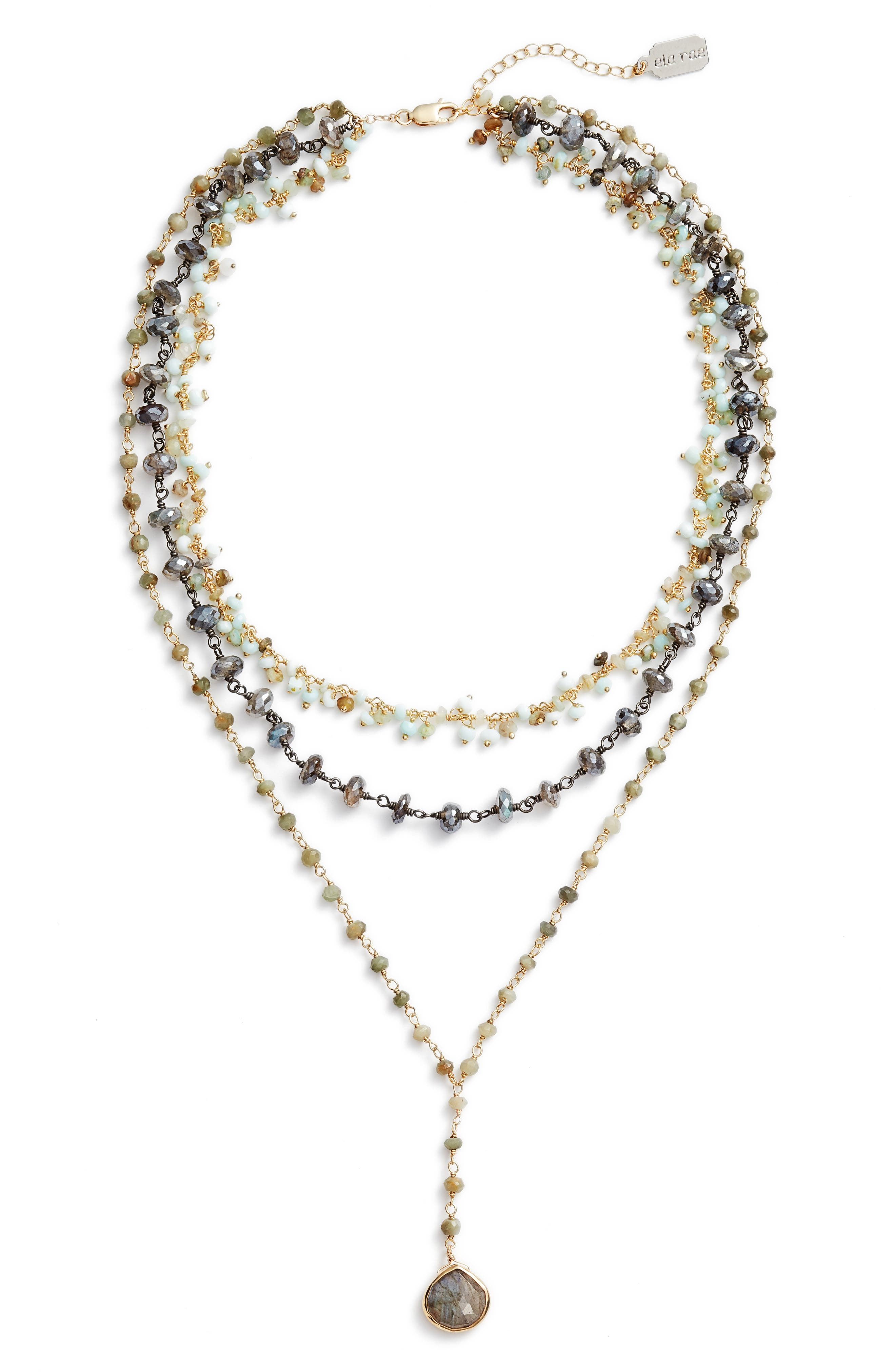 Multistrand Y-Necklace,                         Main,                         color, PERUVIAN OPAL/ LABRADORITE