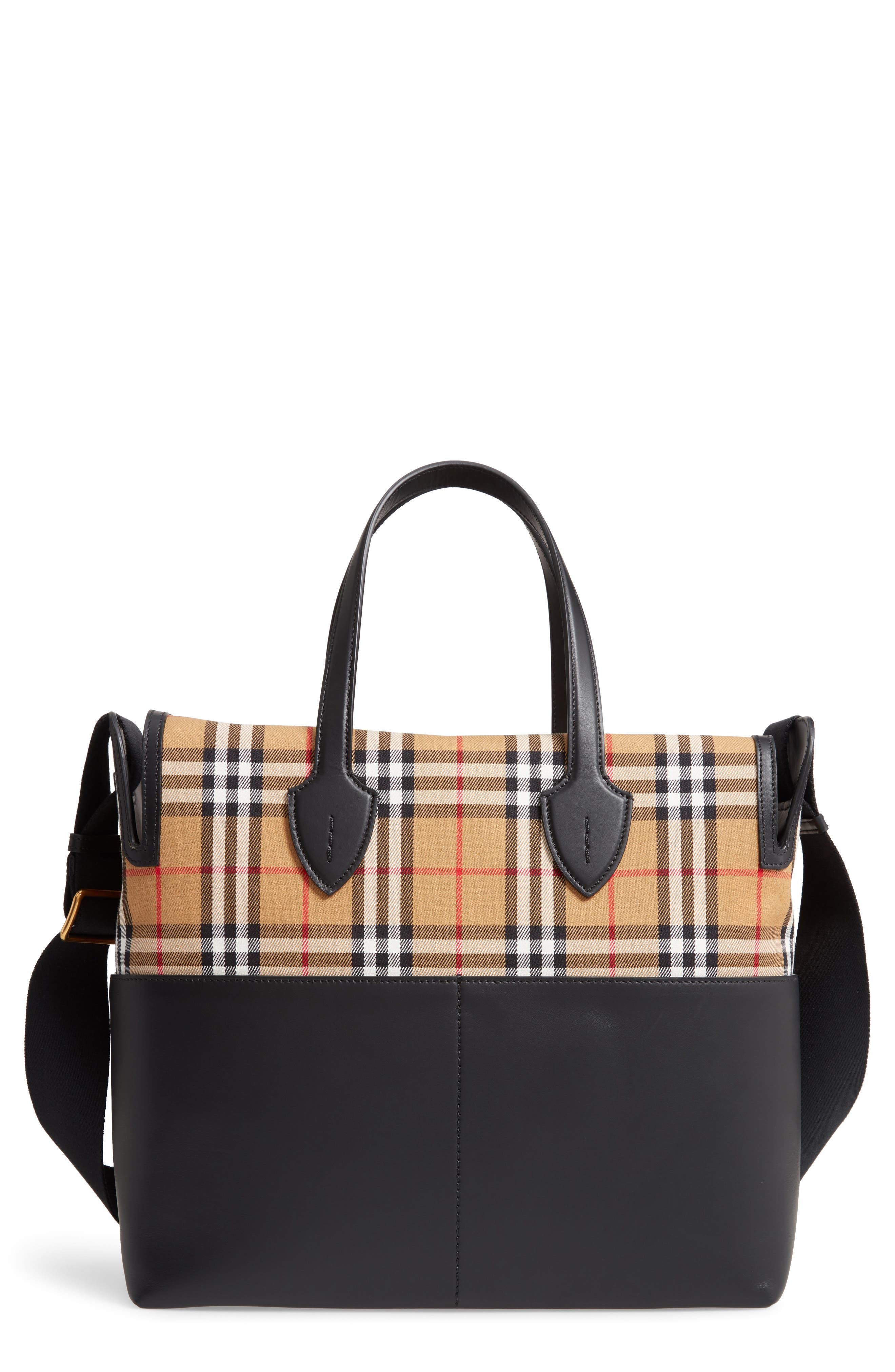 Kingswood Vintage Check & Leather Diaper Tote, Main, color, BLACK