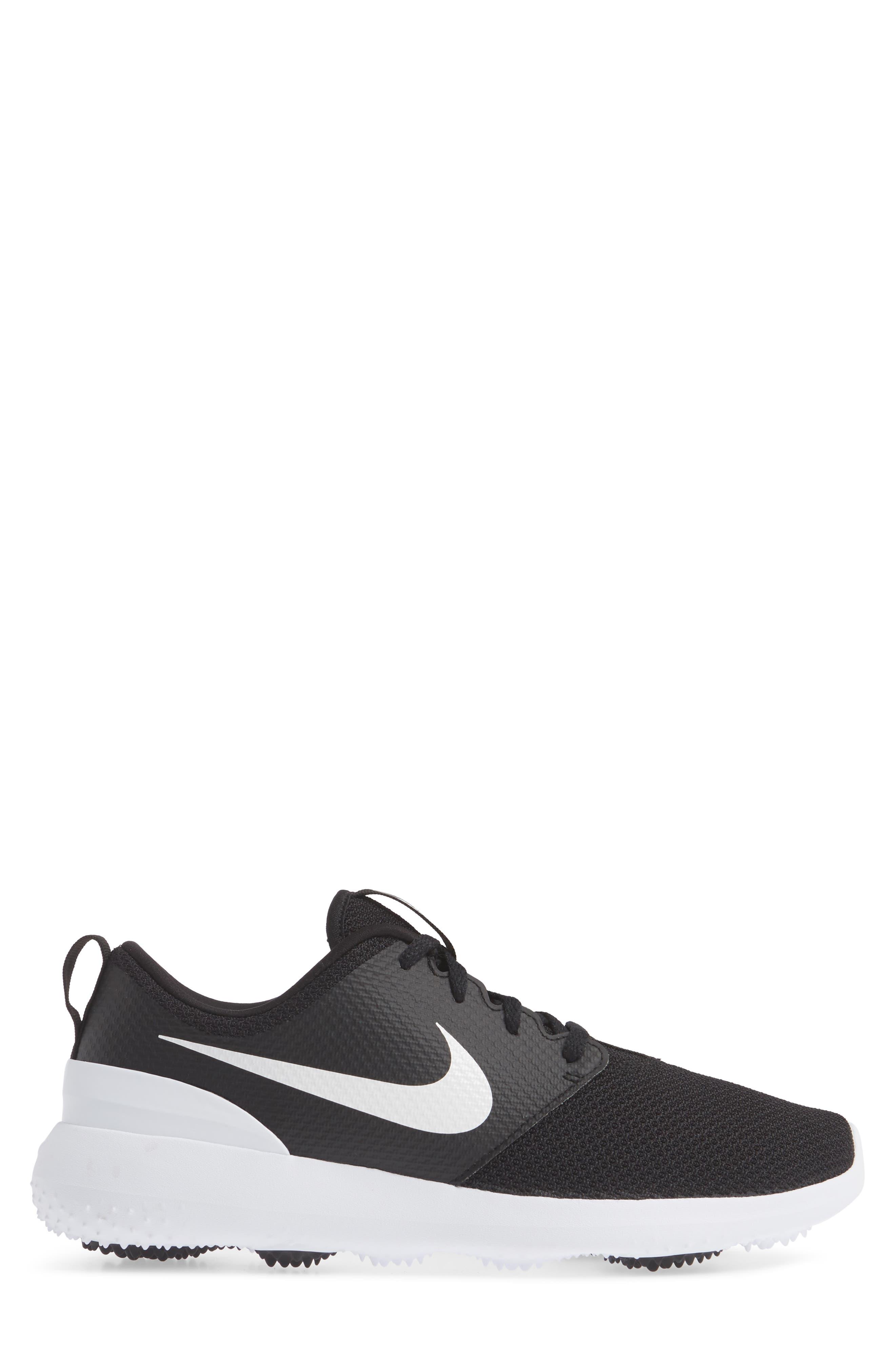 Roshe Golf Shoe,                             Alternate thumbnail 3, color,                             BLACK/ WHITE