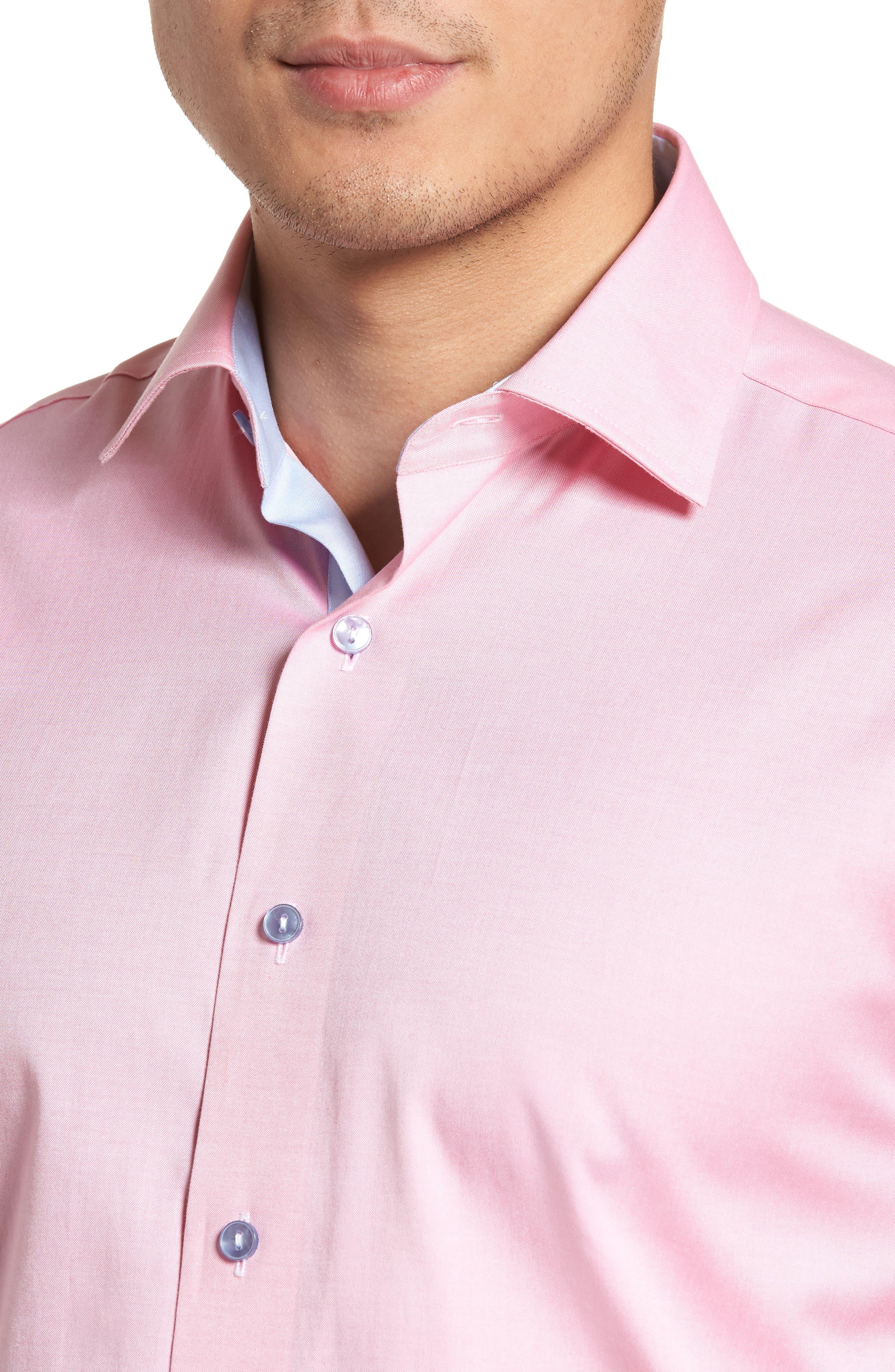 Trim Fit Oxford Dress Shirt,                             Alternate thumbnail 2, color,                             PINK