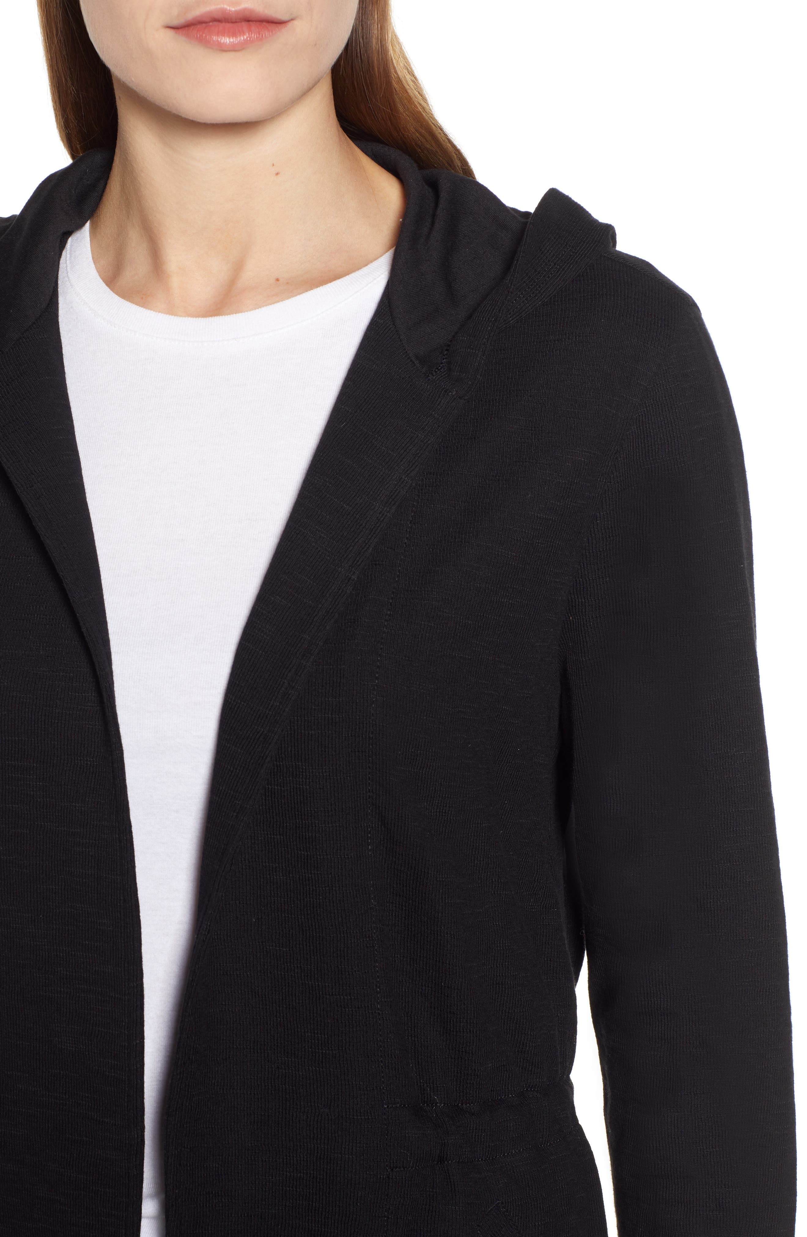 CASLON<SUP>®</SUP>,                             Open Front Hooded Cardigan,                             Alternate thumbnail 5, color,                             BLACK