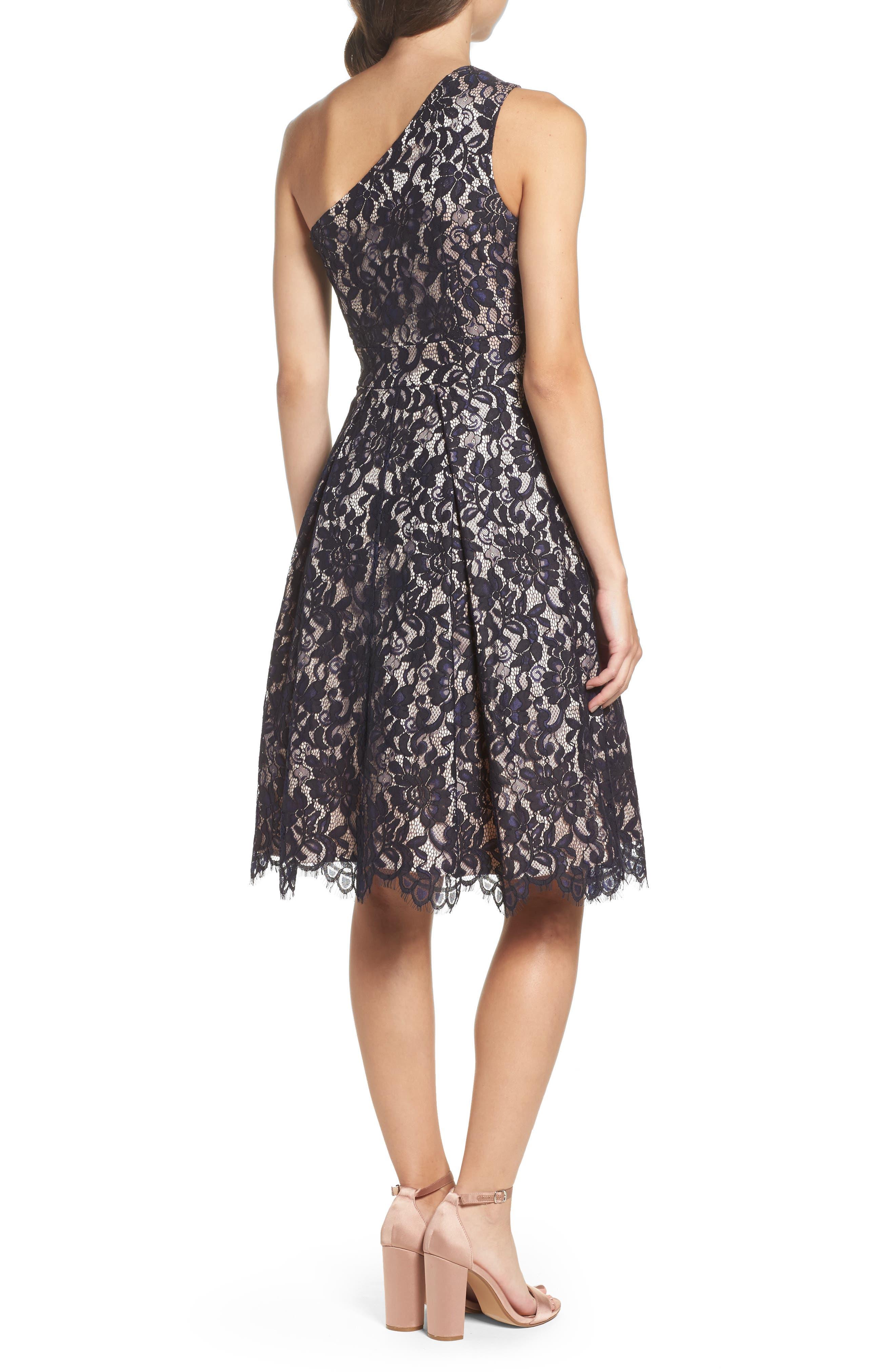 One-Shoulder Lace Dress,                             Alternate thumbnail 2, color,                             410