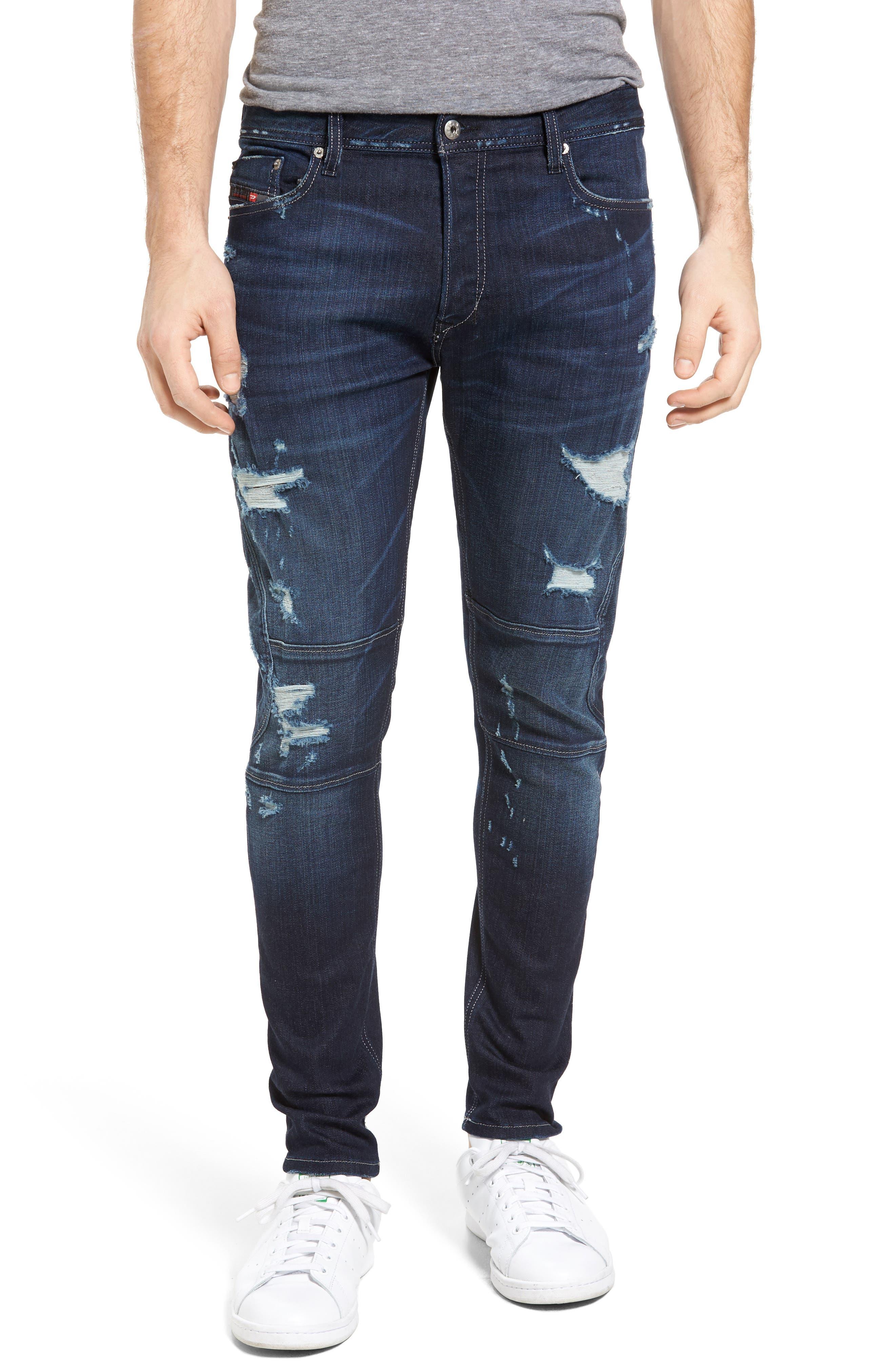 T-Ride Skinny Fit Moto Jeans,                             Main thumbnail 1, color,                             400