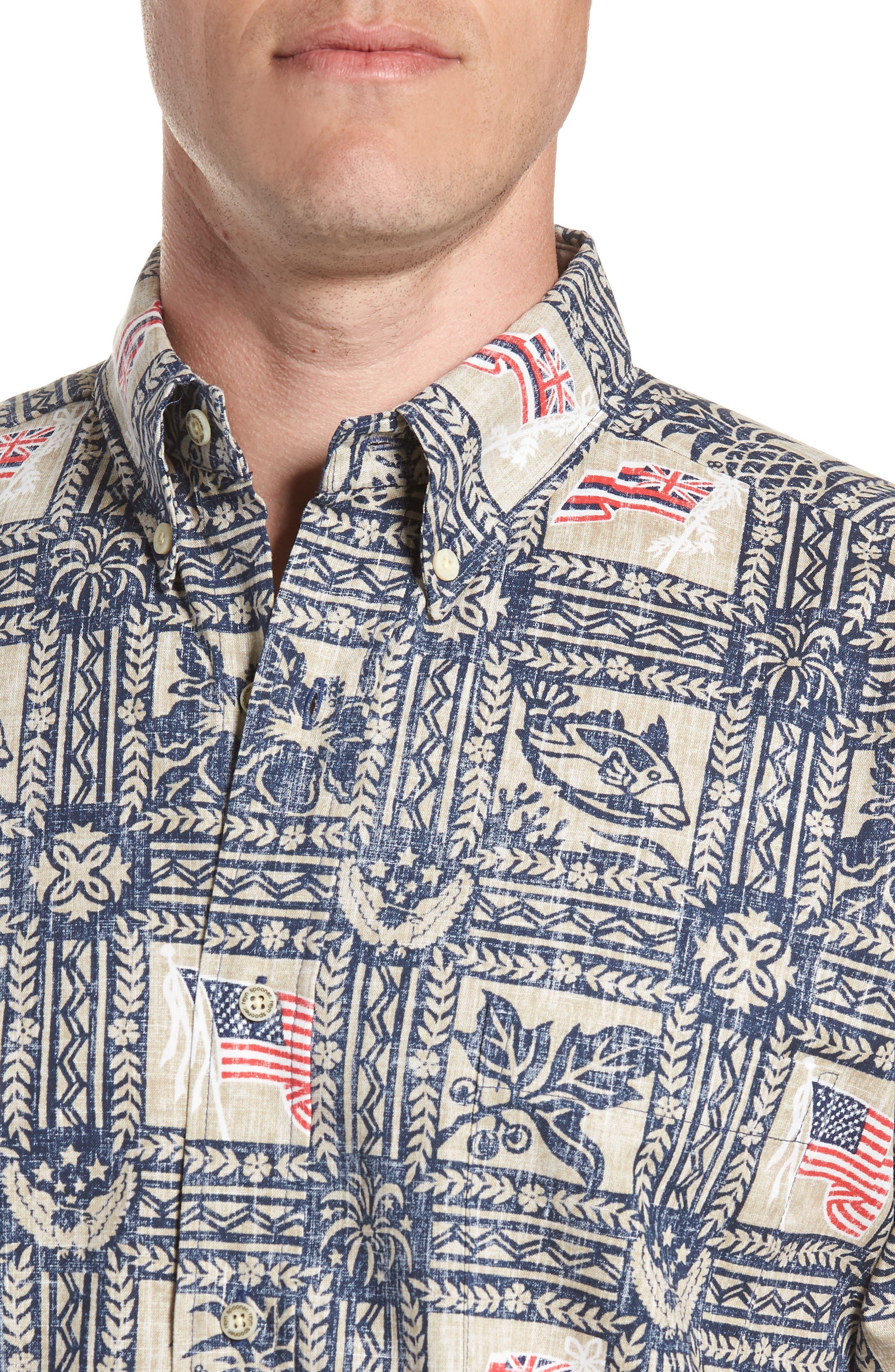 Summer Commemorative 2018 Classic Fit Print Sport Shirt,                             Alternate thumbnail 4, color,                             NAVY