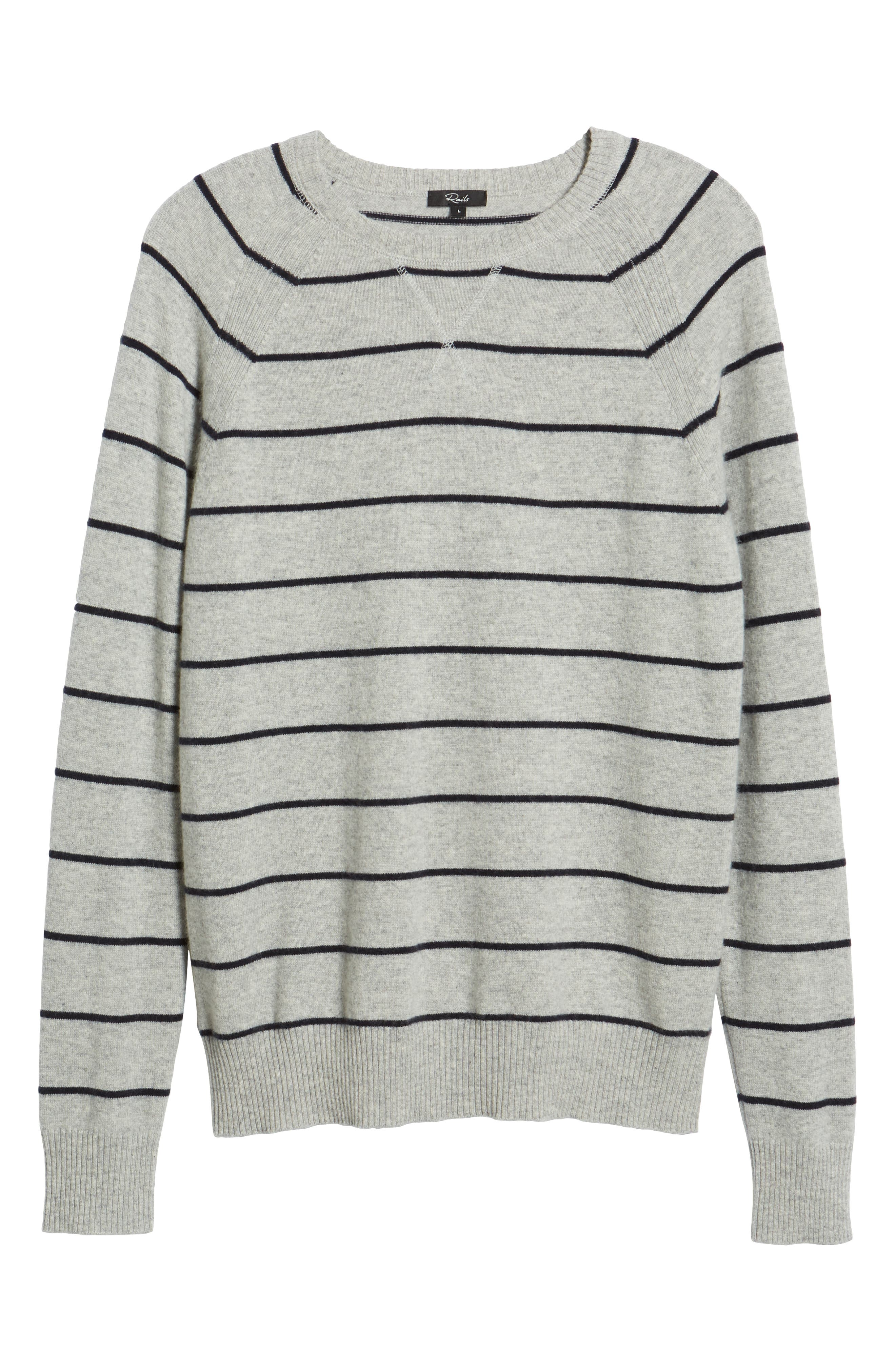 Caleb Stripe Cashmere Sweater,                             Alternate thumbnail 6, color,                             LIGHT HEATHER GREY/ NAVY