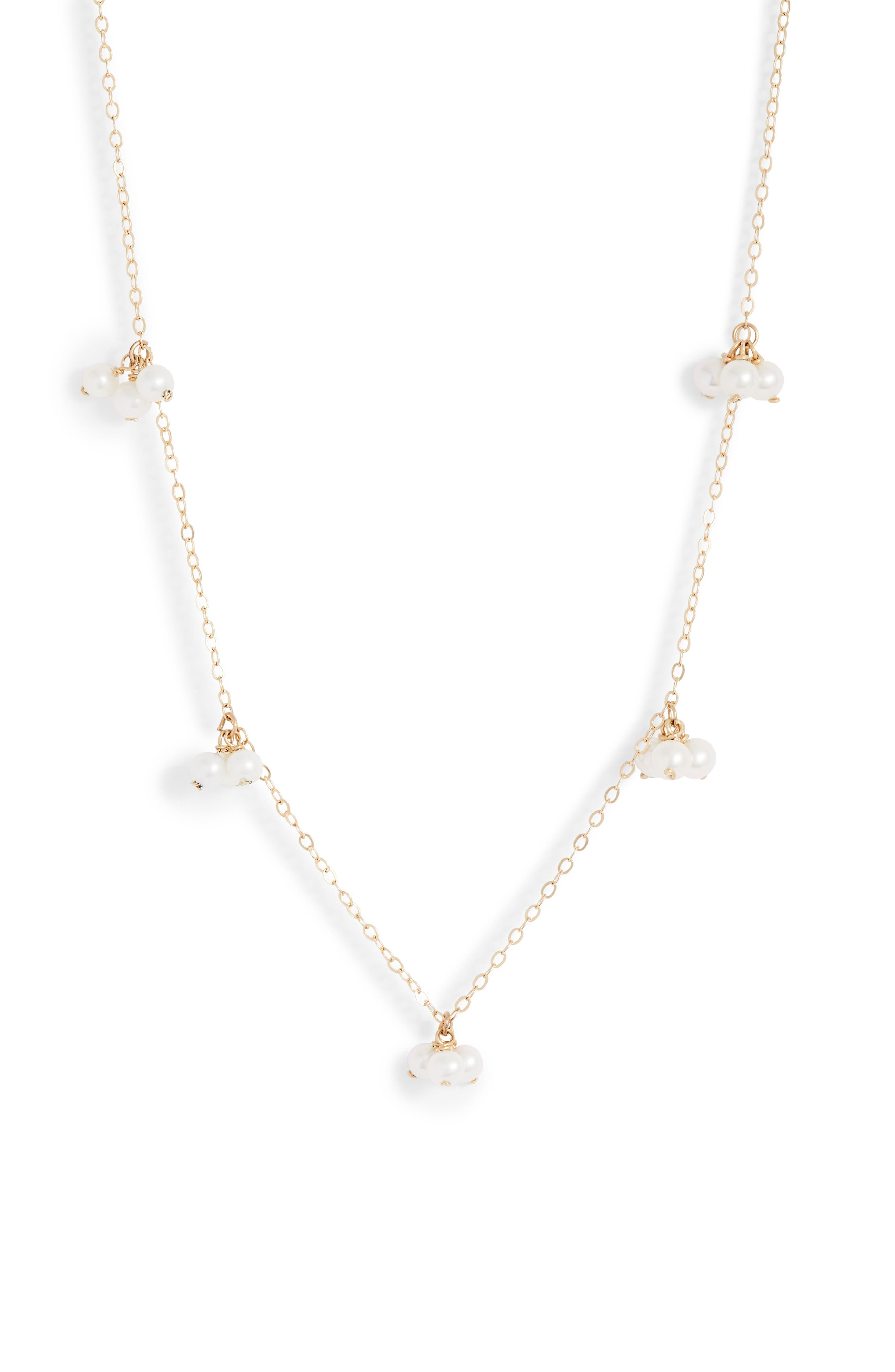 Baby Pearl Trio Gold Station Necklace,                             Main thumbnail 1, color,                             YELLOW GOLD/ WHITE PEARL