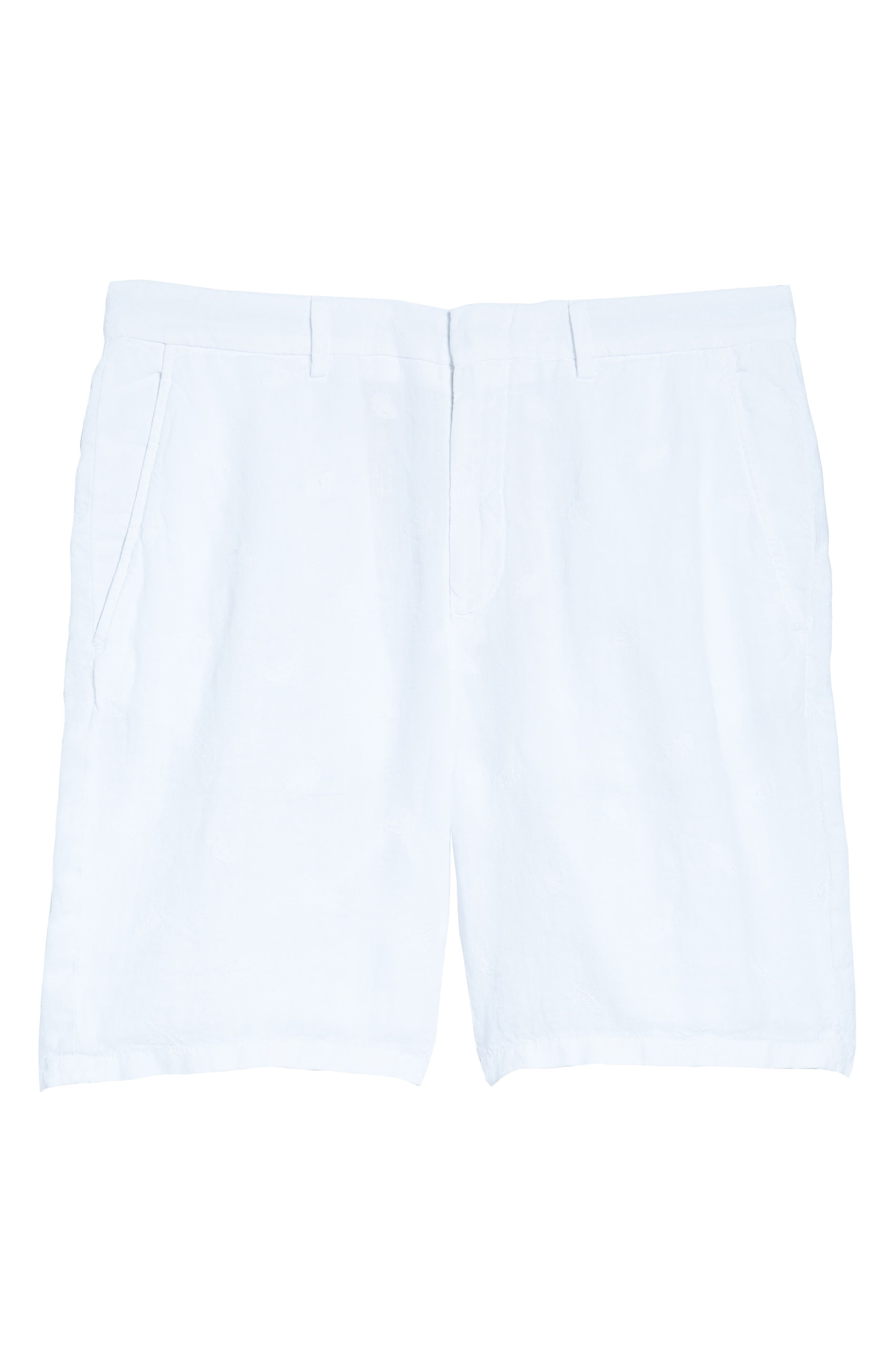 Embroidered Linen Blend Shorts,                             Alternate thumbnail 6, color,                             BLANC