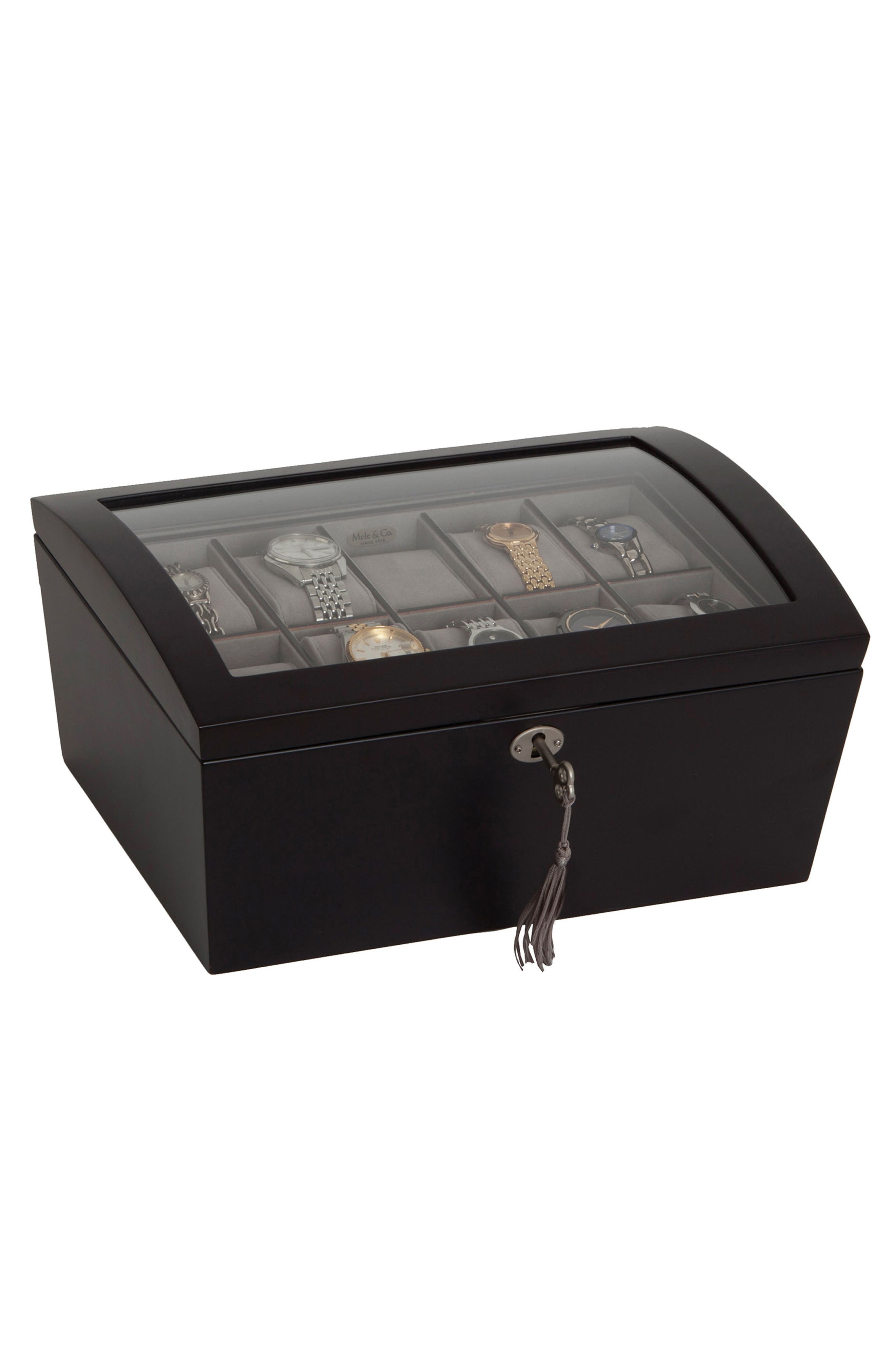 Royce Locking Watch & Jewelry Box,                             Alternate thumbnail 2, color,                             BLACK