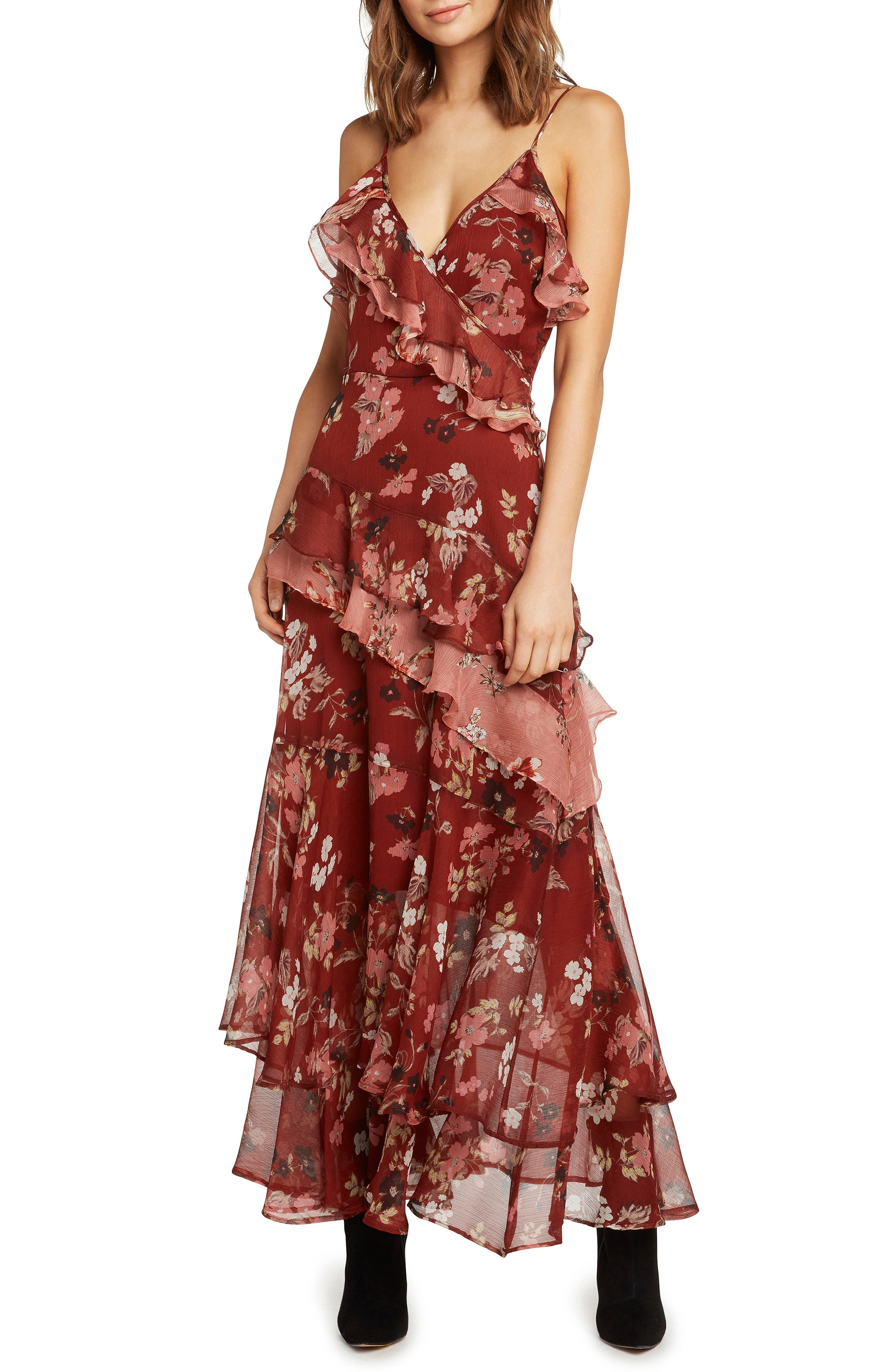 Tiered Ruffle Maxi Dress,                             Alternate thumbnail 4, color,                             RUST