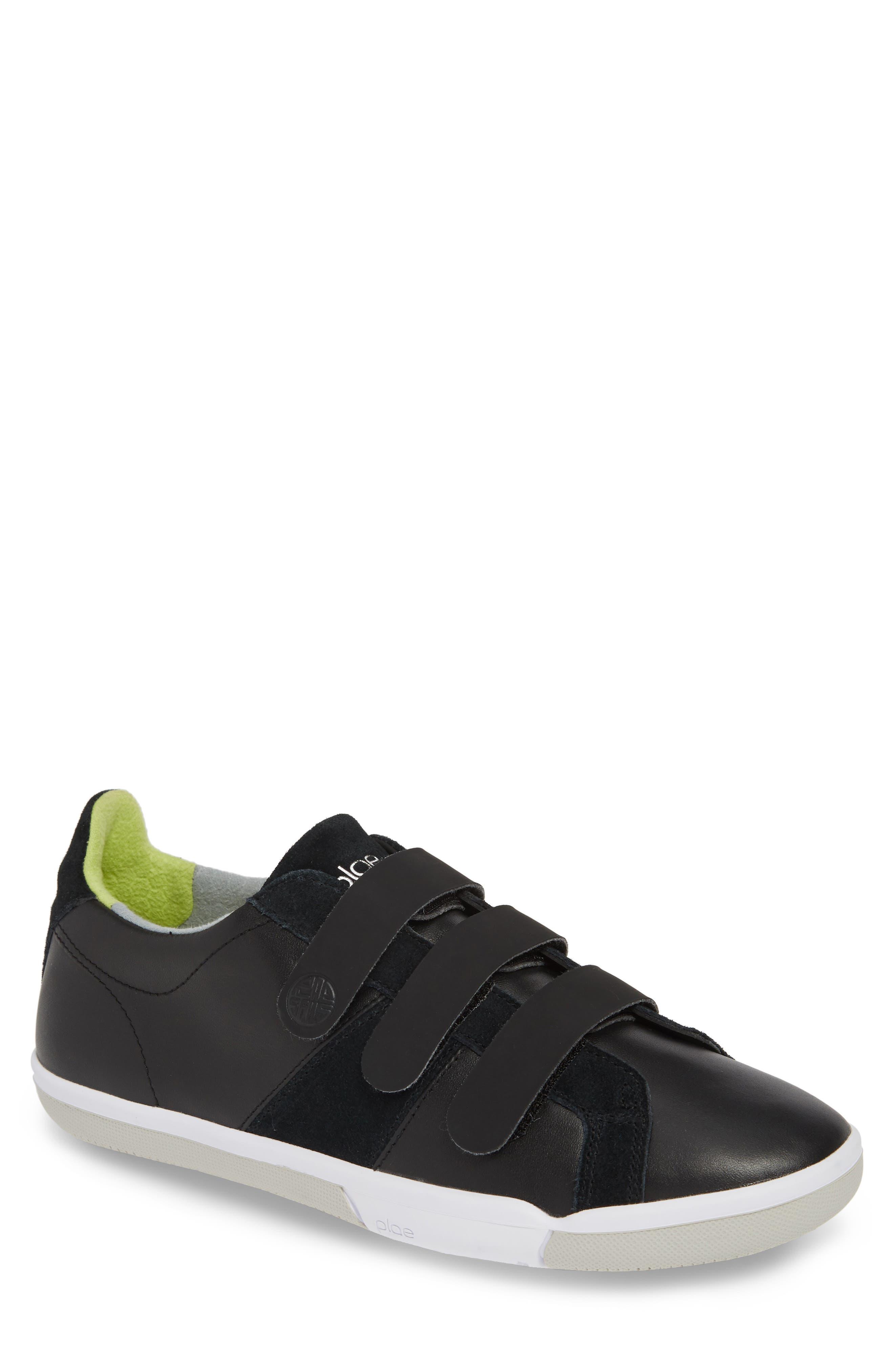 PLAE,                             Larkin Low Top Sneaker,                             Main thumbnail 1, color,                             BLACK LEATHER/ SUEDE