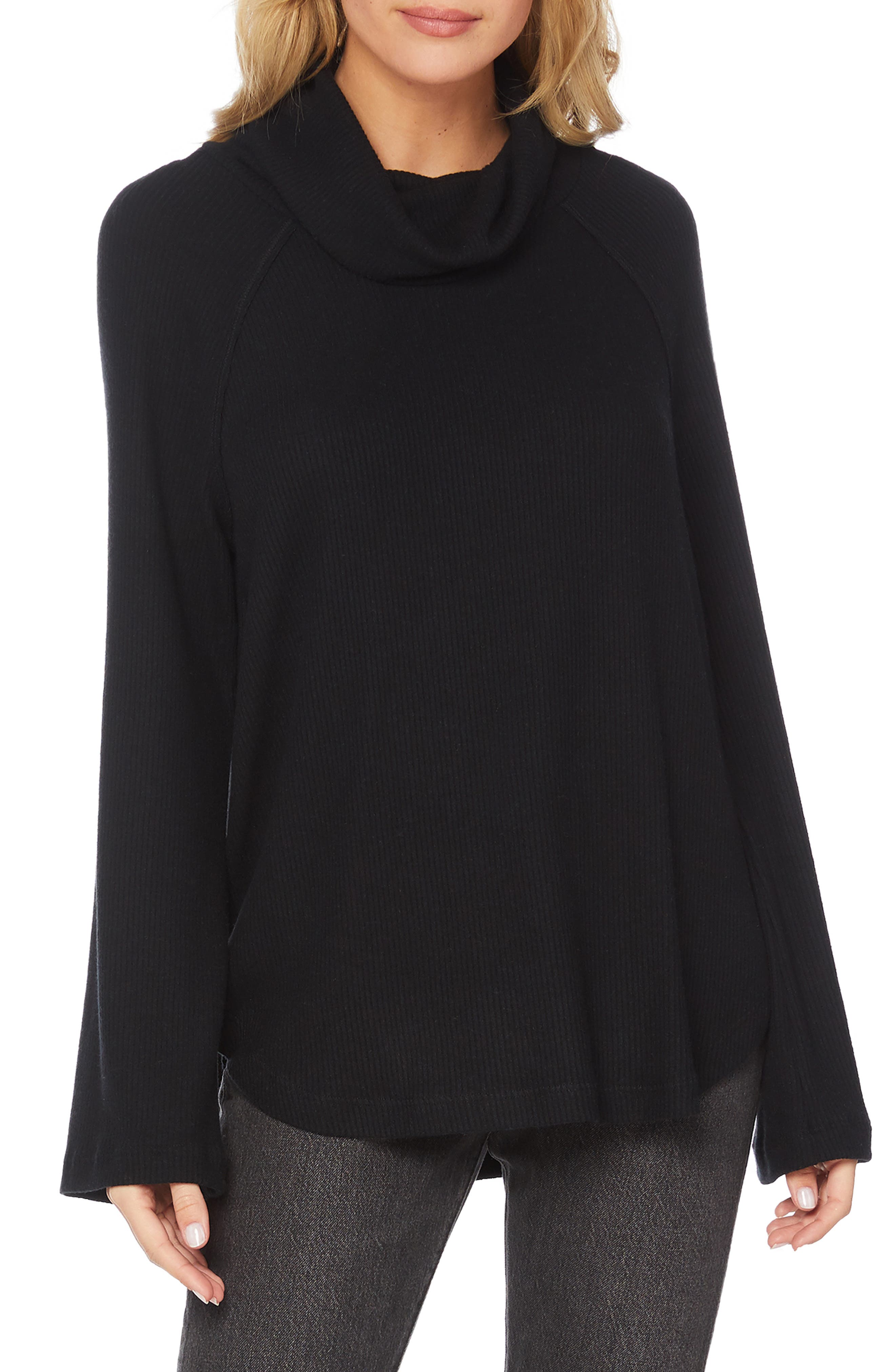 Ribbed Turtleneck Top,                         Main,                         color, 001