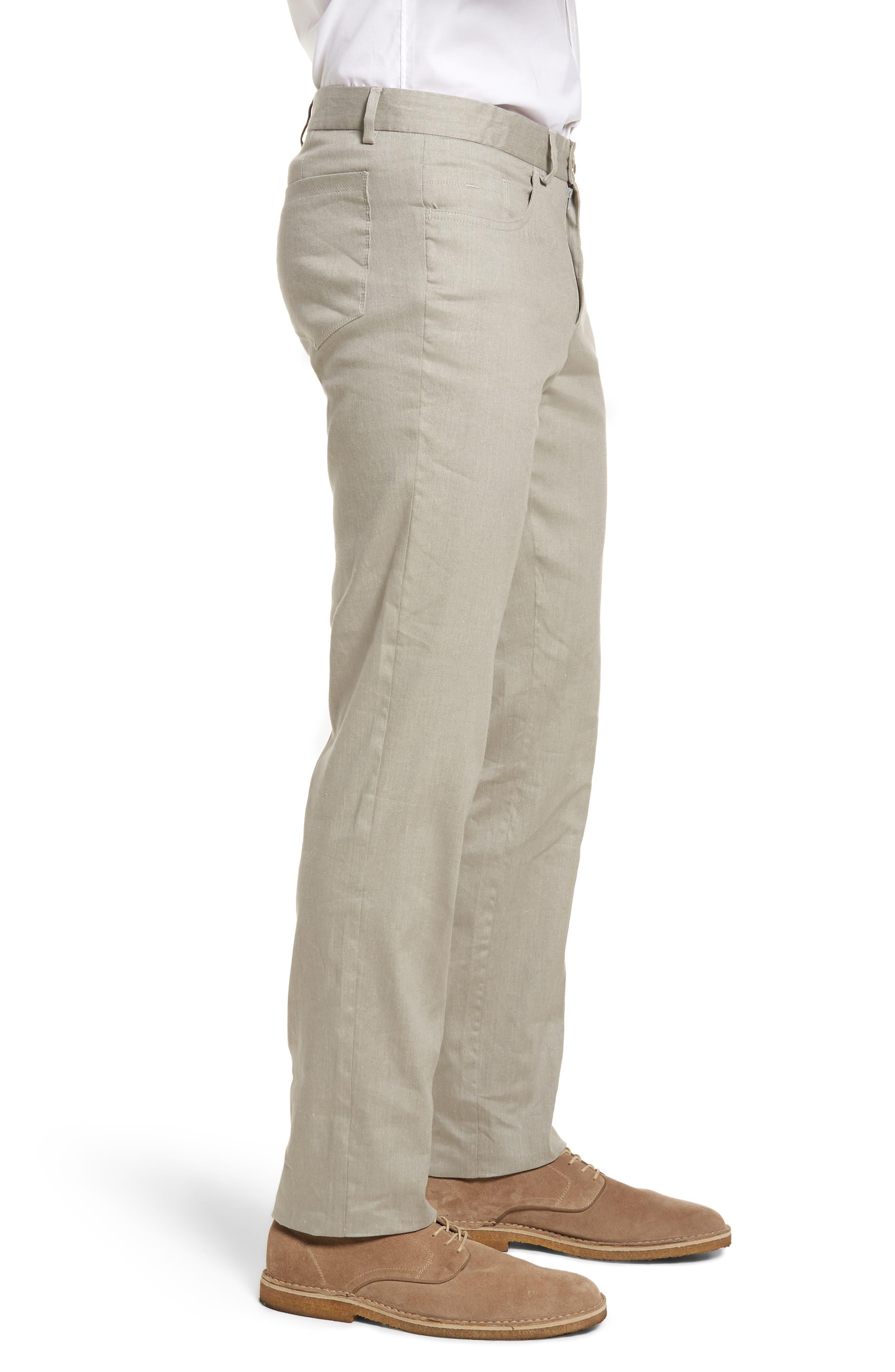 Flat Front Stretch Linen & Cotton Trousers,                             Alternate thumbnail 3, color,                             050