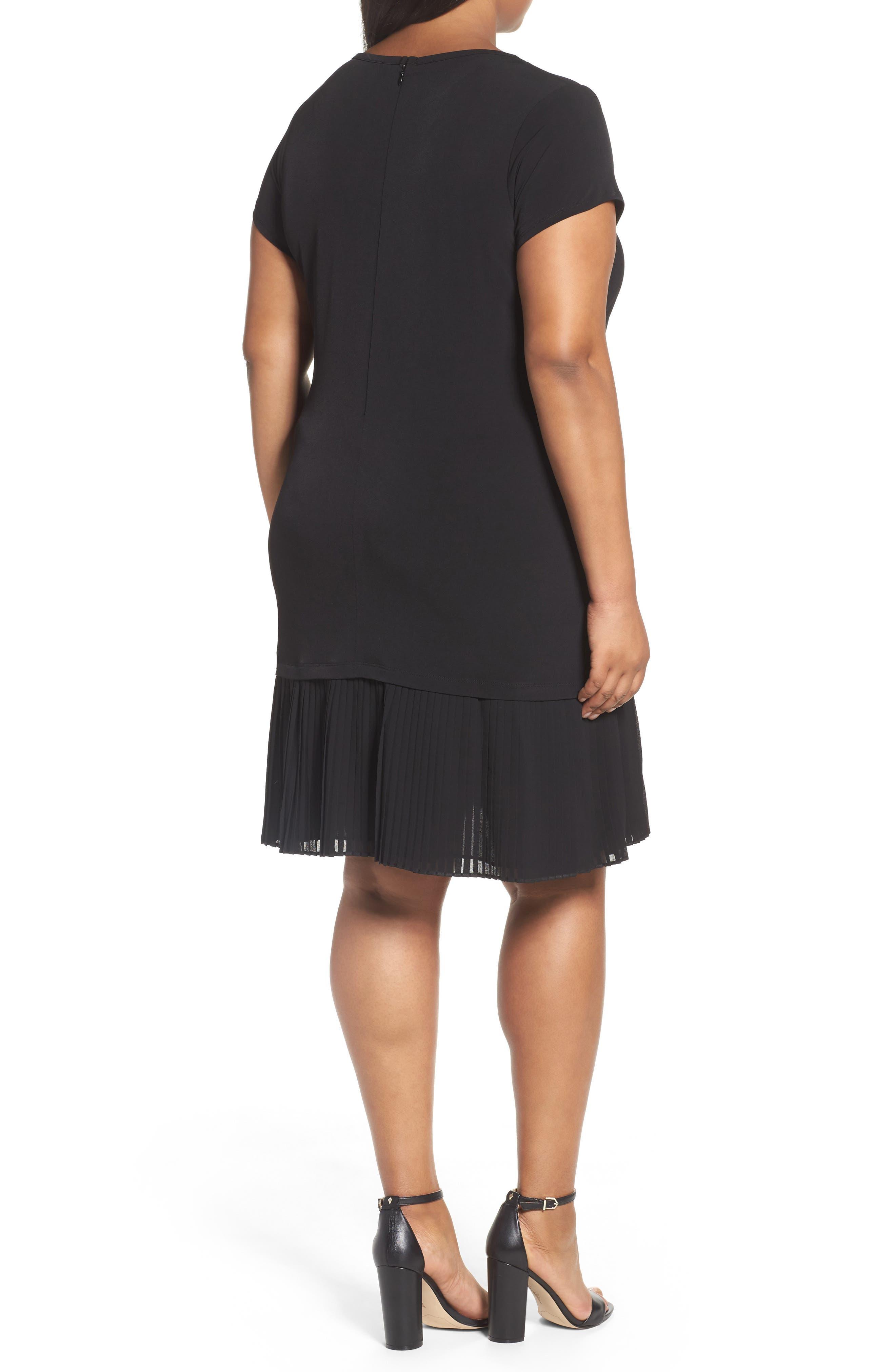 Pleat Chiffon Hem Jersey Dress,                             Alternate thumbnail 2, color,                             BLACK