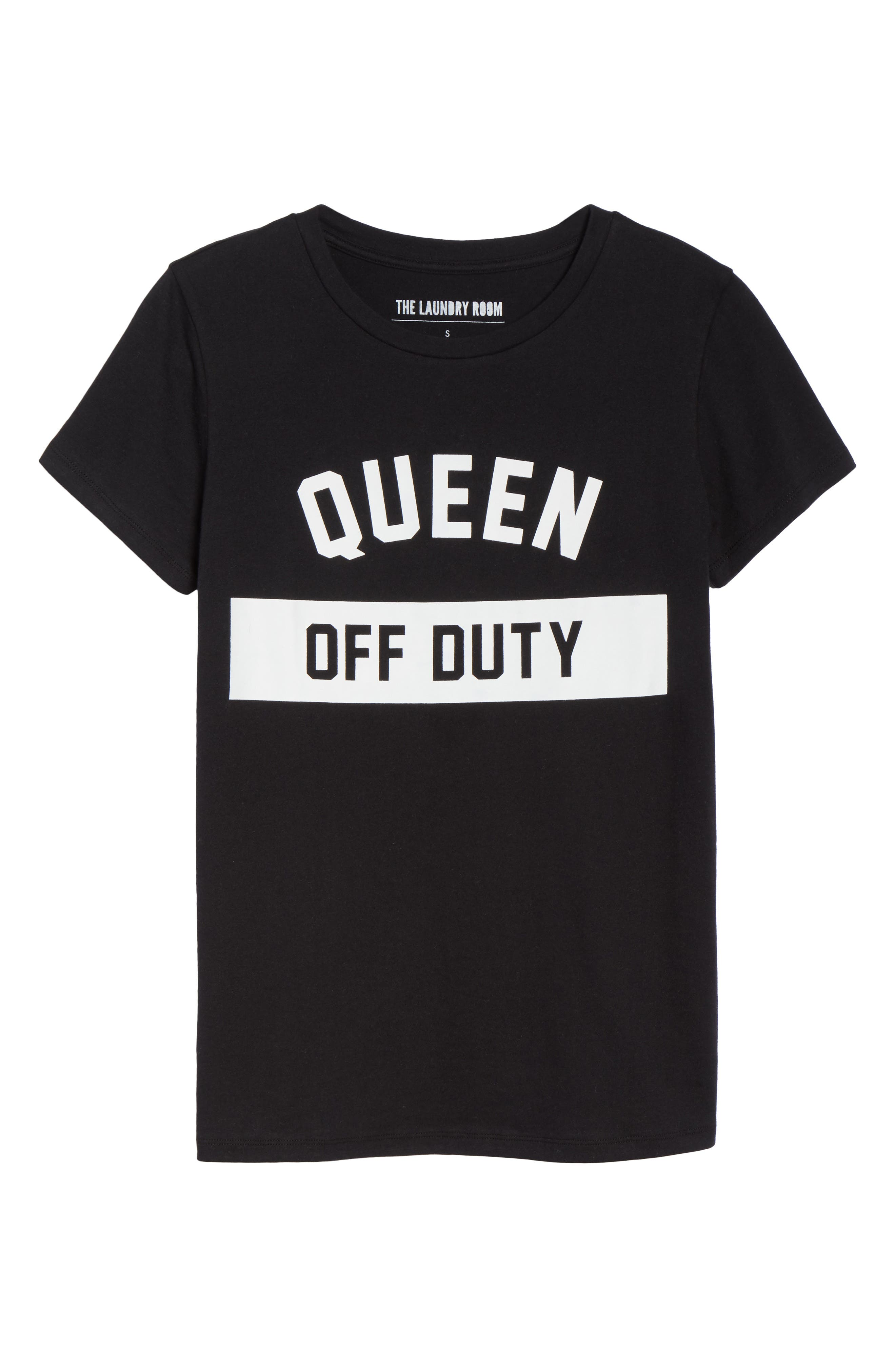 Queen Off Duty Tee,                             Alternate thumbnail 6, color,                             BLACK