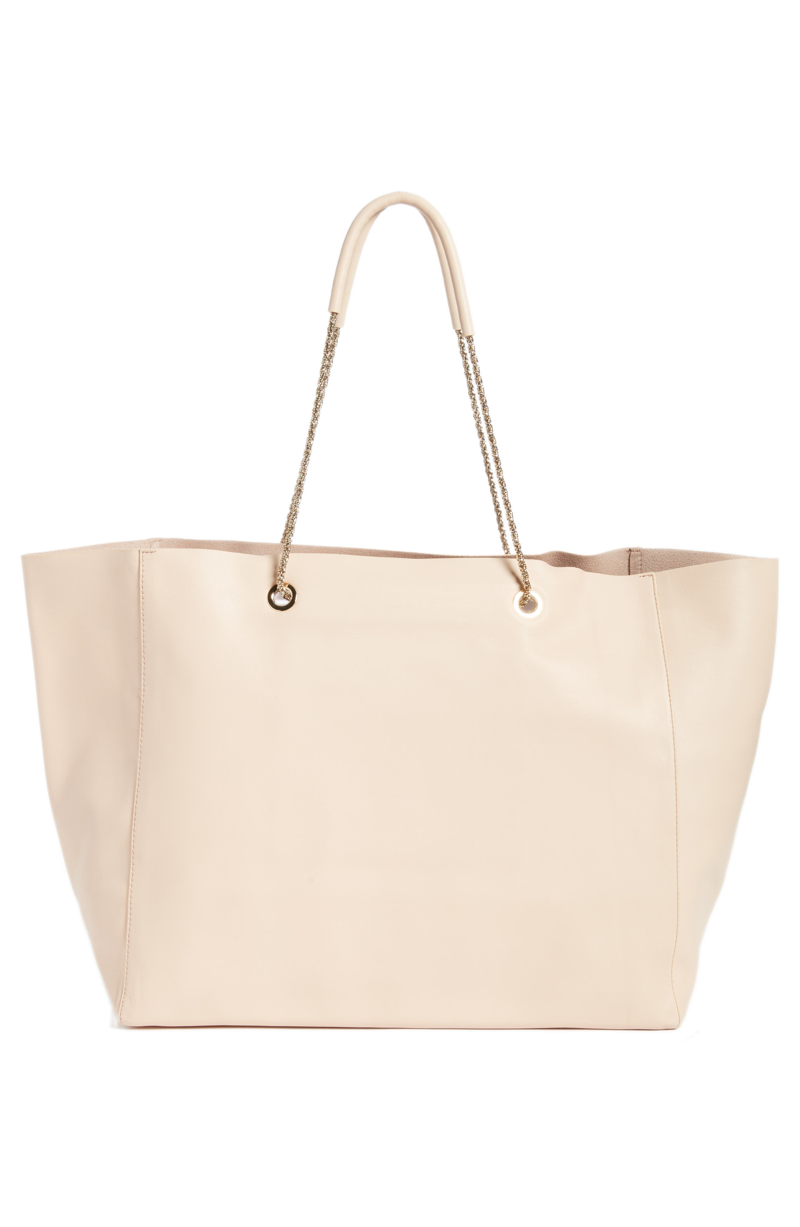 Gaby Leather Tote,                             Alternate thumbnail 3, color,                             NUDE
