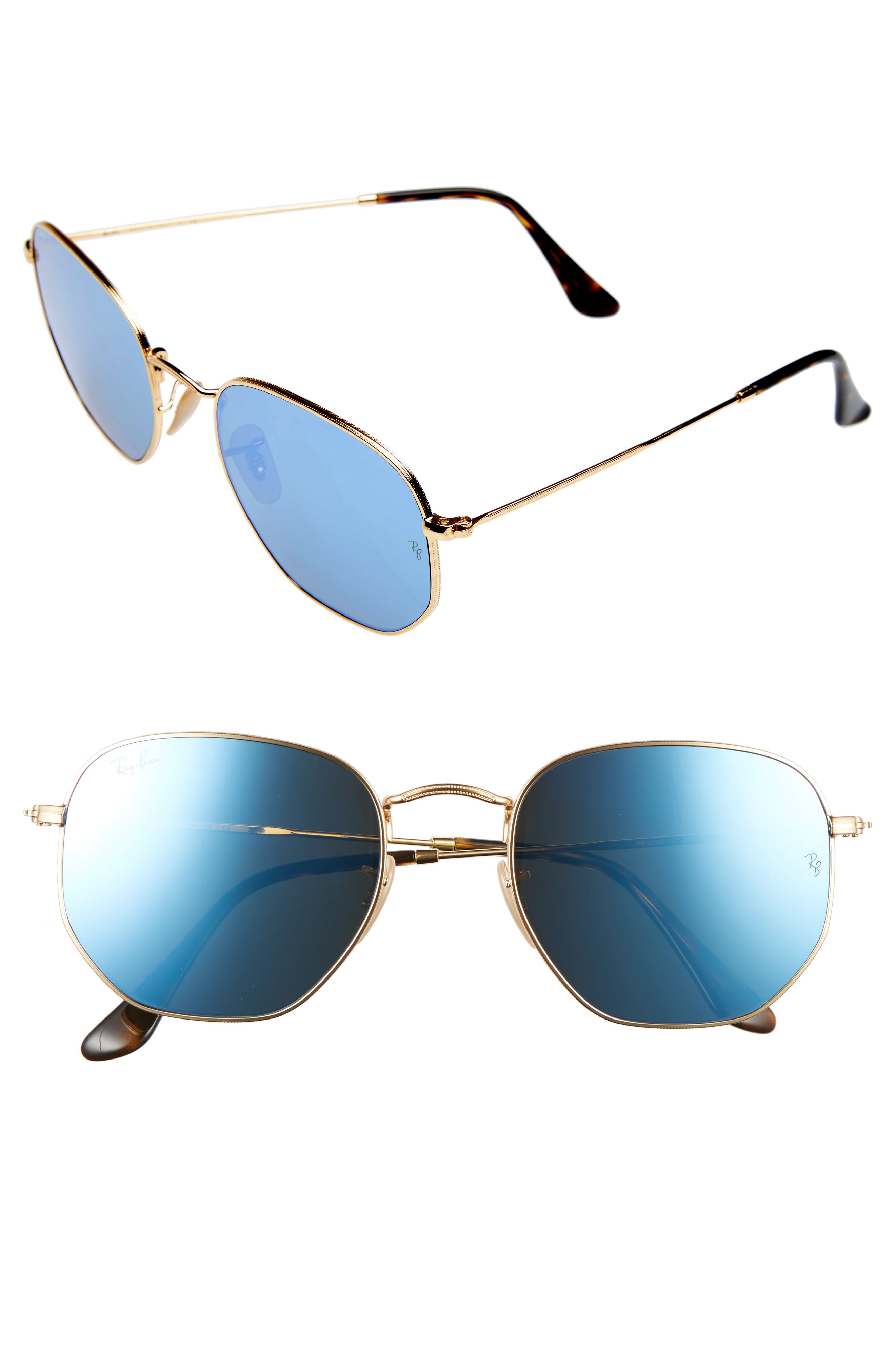 54mm Hexagonal Flat Lens Sunglasses,                             Main thumbnail 1, color,                             708