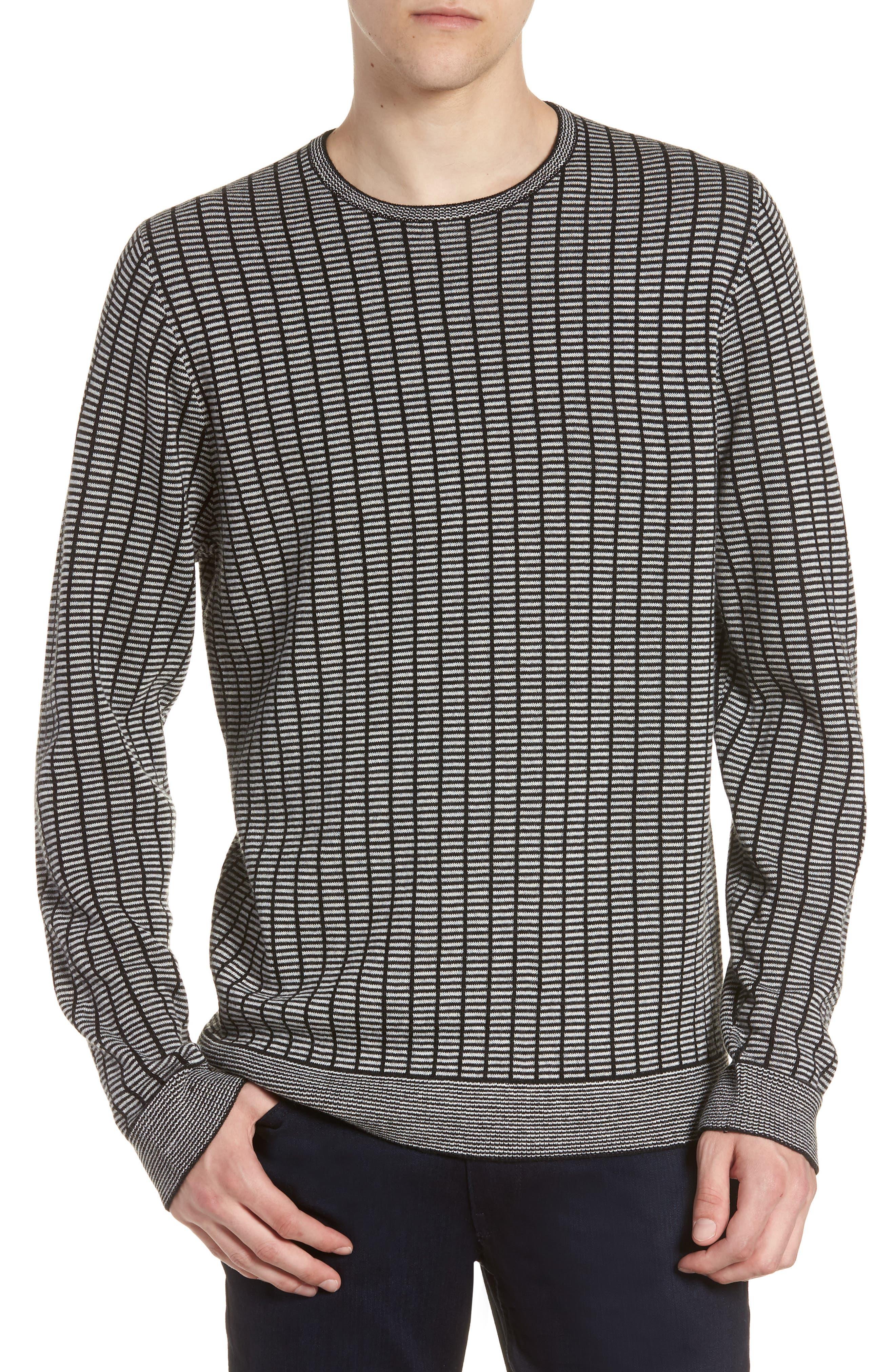 Grid Crewneck Sweater,                         Main,                         color, BLACK CAVIAR